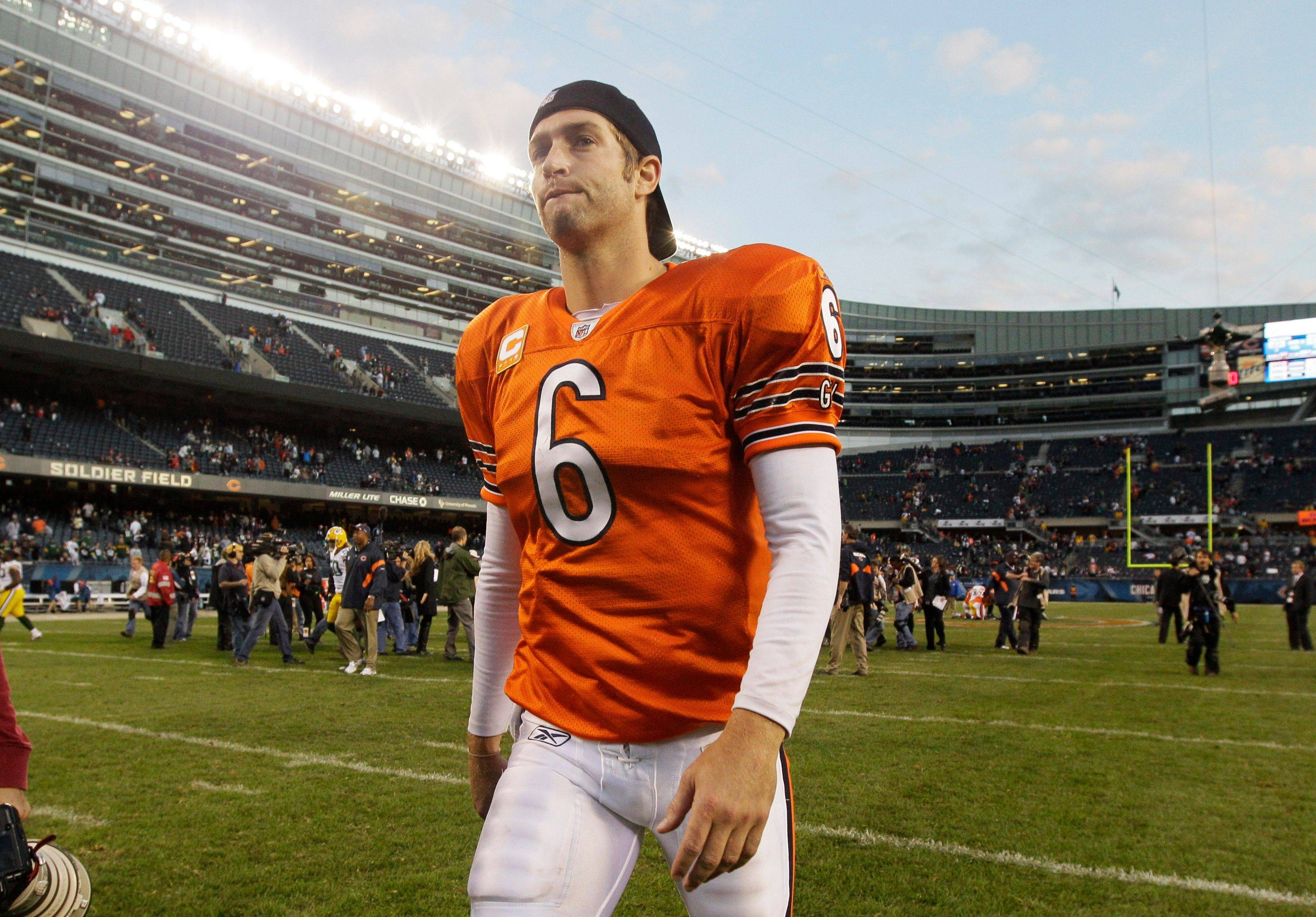 Bears quarterback Jay Cutler walks off Soldier Field Sunday after the Green Bay Packers defeated the Bears 27-17.
