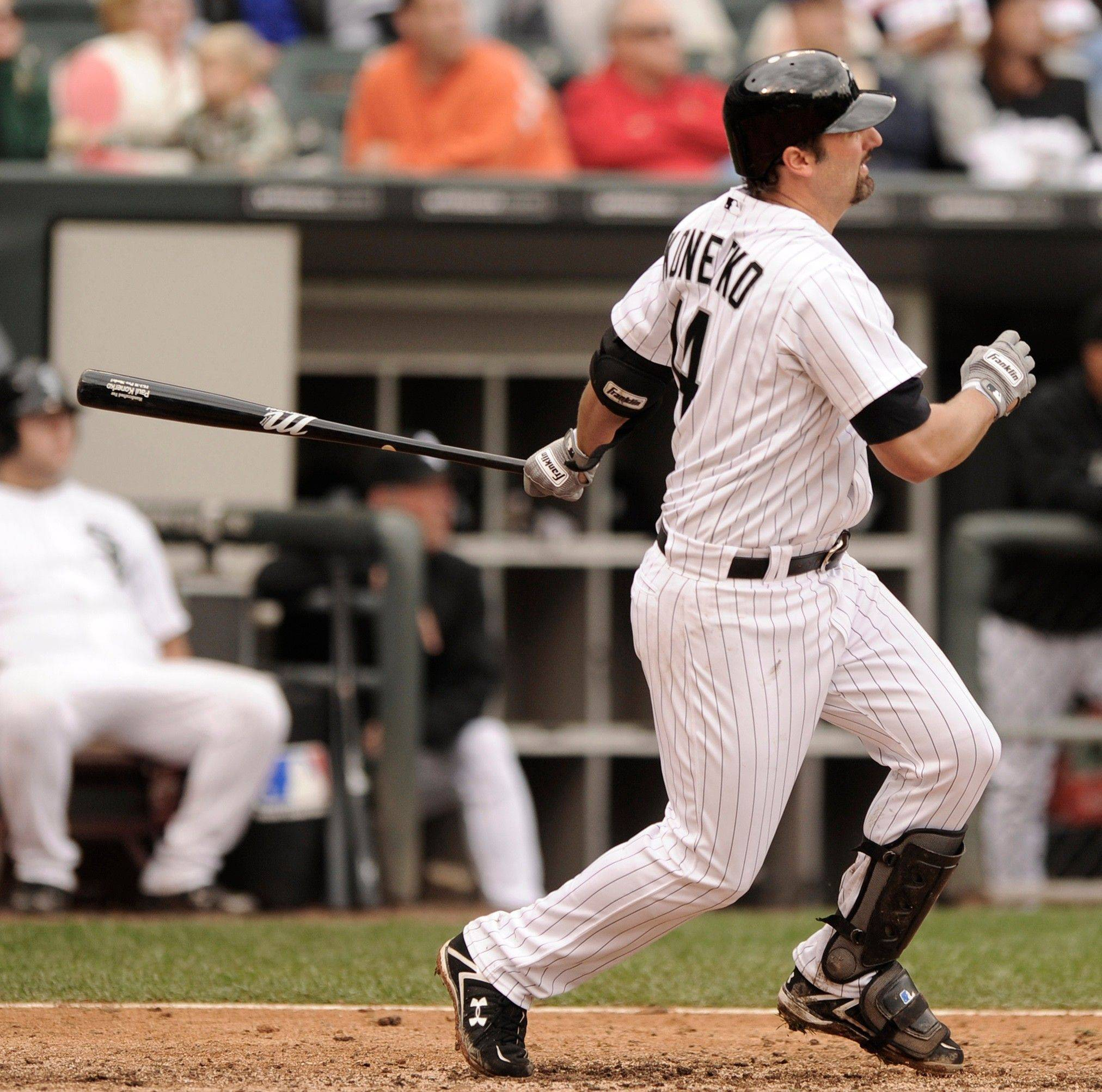 Paul Konerko watches his RBI double against Kansas City during the eighth inning Sunday at U.S. Cellular Field.