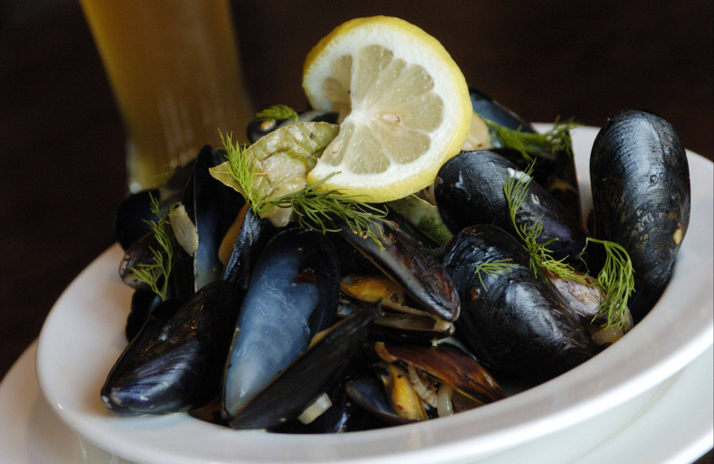 Chef Jason Bauer suggests pairing his steamed mussels with a German weiss beer.