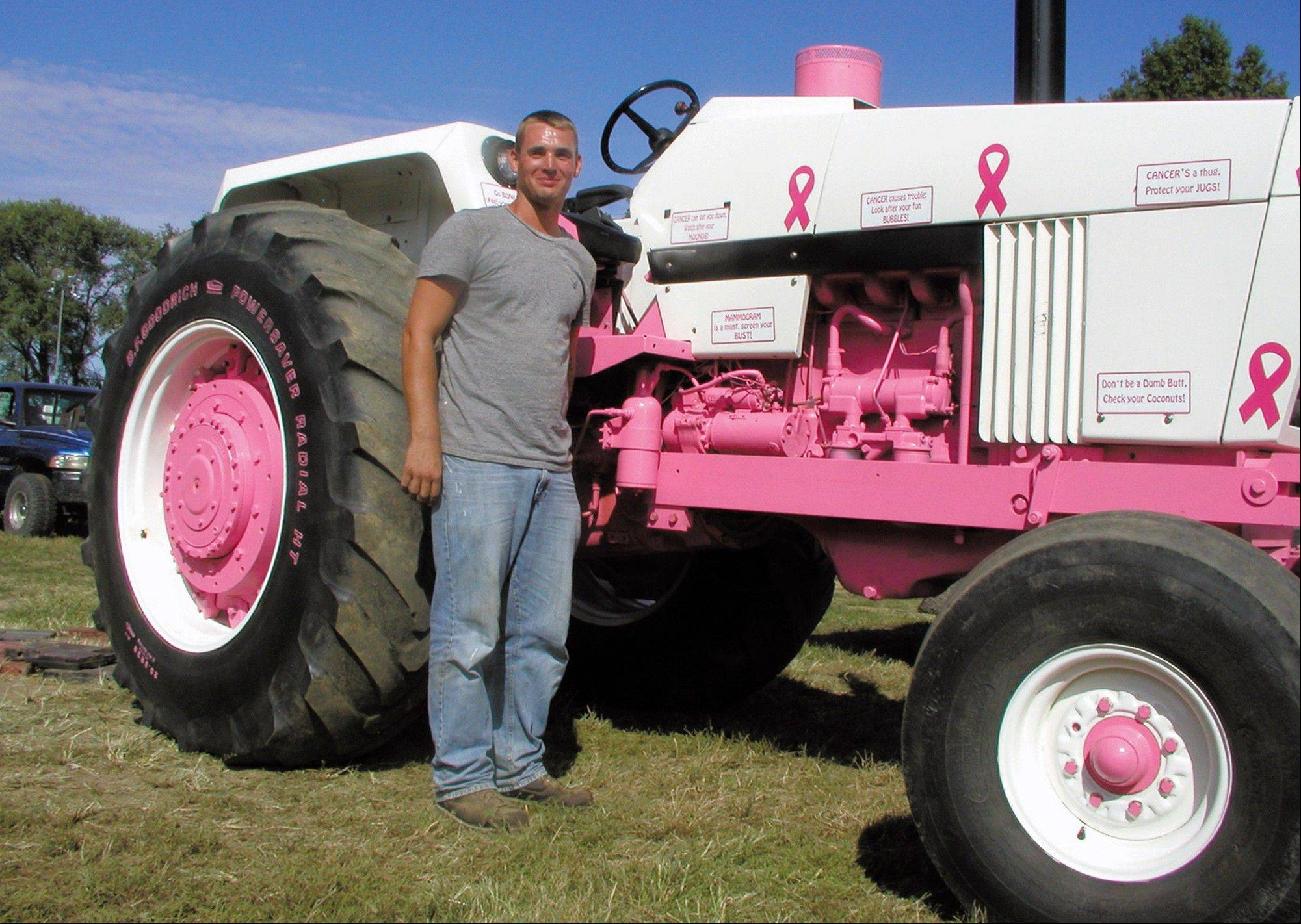 Jason Hermann of Effingham painted his tractor pink and white to raise breast cancer awareness and to honor his mother, Kitty Jo Hermann, who is a breast cancer survivor.