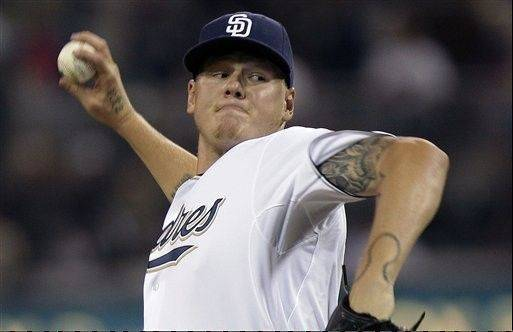 San Diego Padres starting pitcher Mat Latos works against the Chicago Cubs during the first inning Monday in San Diego.
