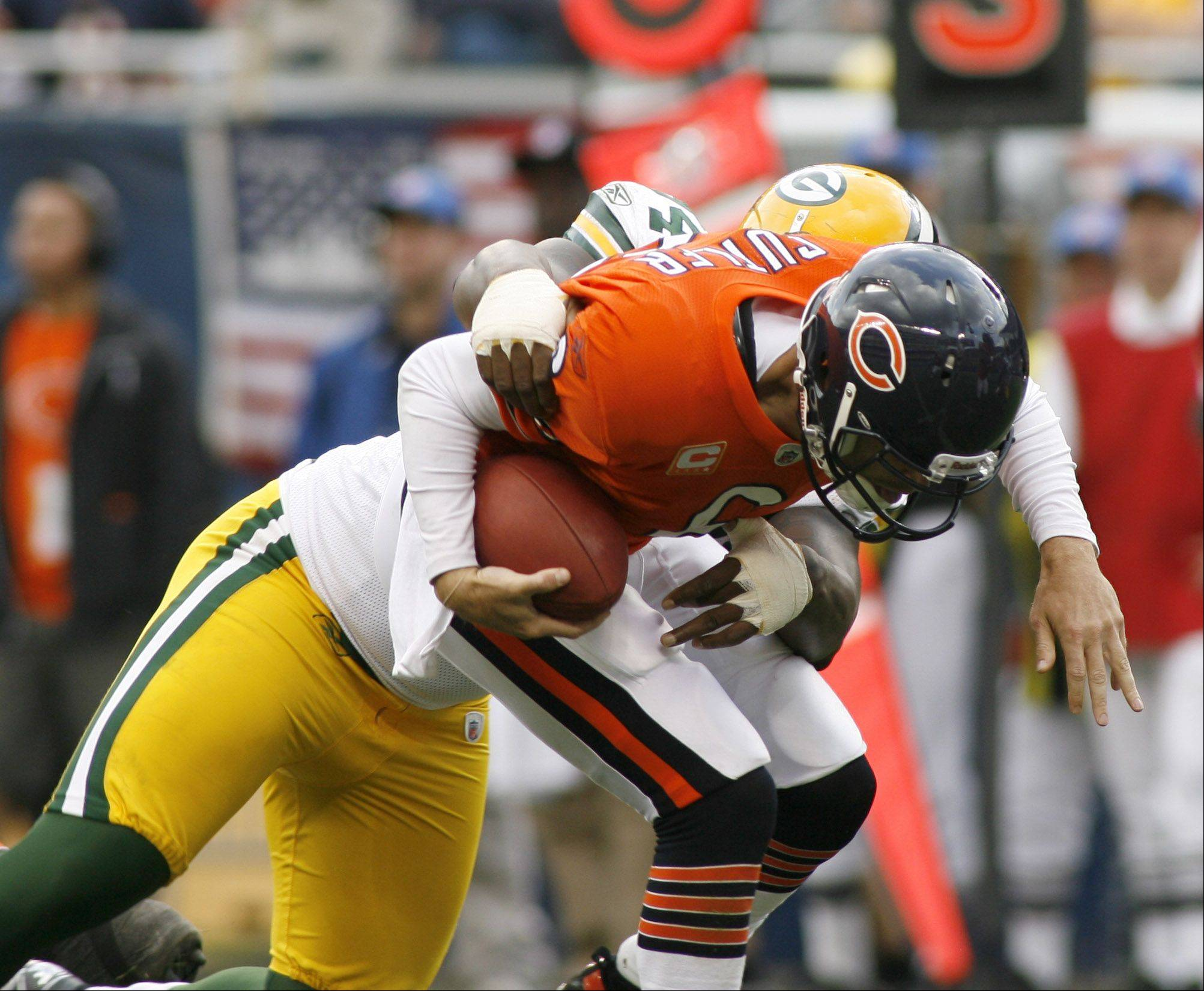 Jay Cutler is sacked during the second half of the Green Bay Packers� 27-17 win over the Chicago Bears on Sunday at Soldier Field. Who deserves the most blame for the loss: Jerry Angelo, Lovie Smith, Mike Martz, Jay Cutler, the receivers or the offensive line? Tell us who�s to blame?