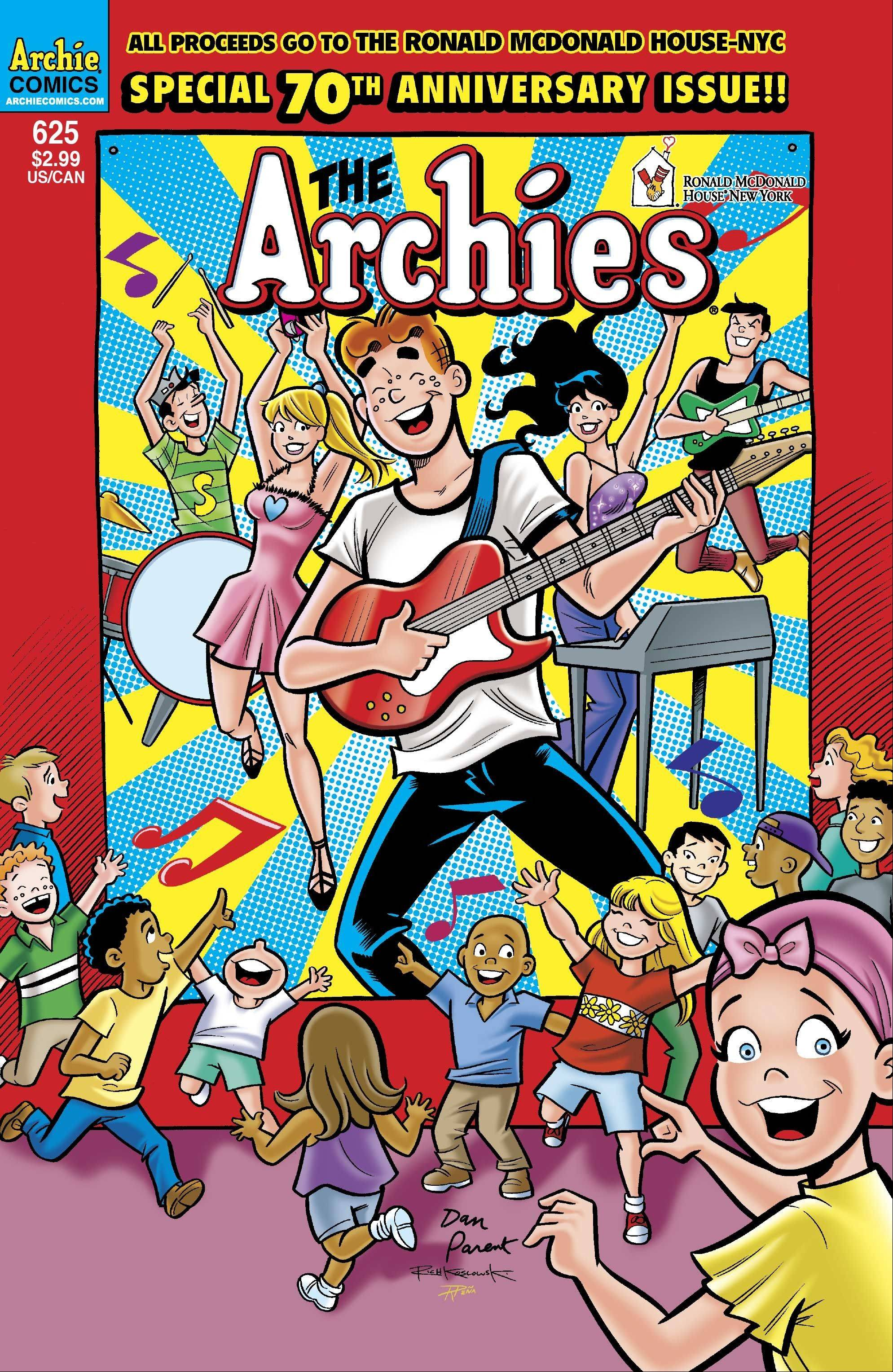 Archie Comics is celebrating its 70th year publishing comic books by focusing the next issue, which is released Wednesday, on helping treat kids with cancer and donating the profit from it to the Ronald McDonald House New York.