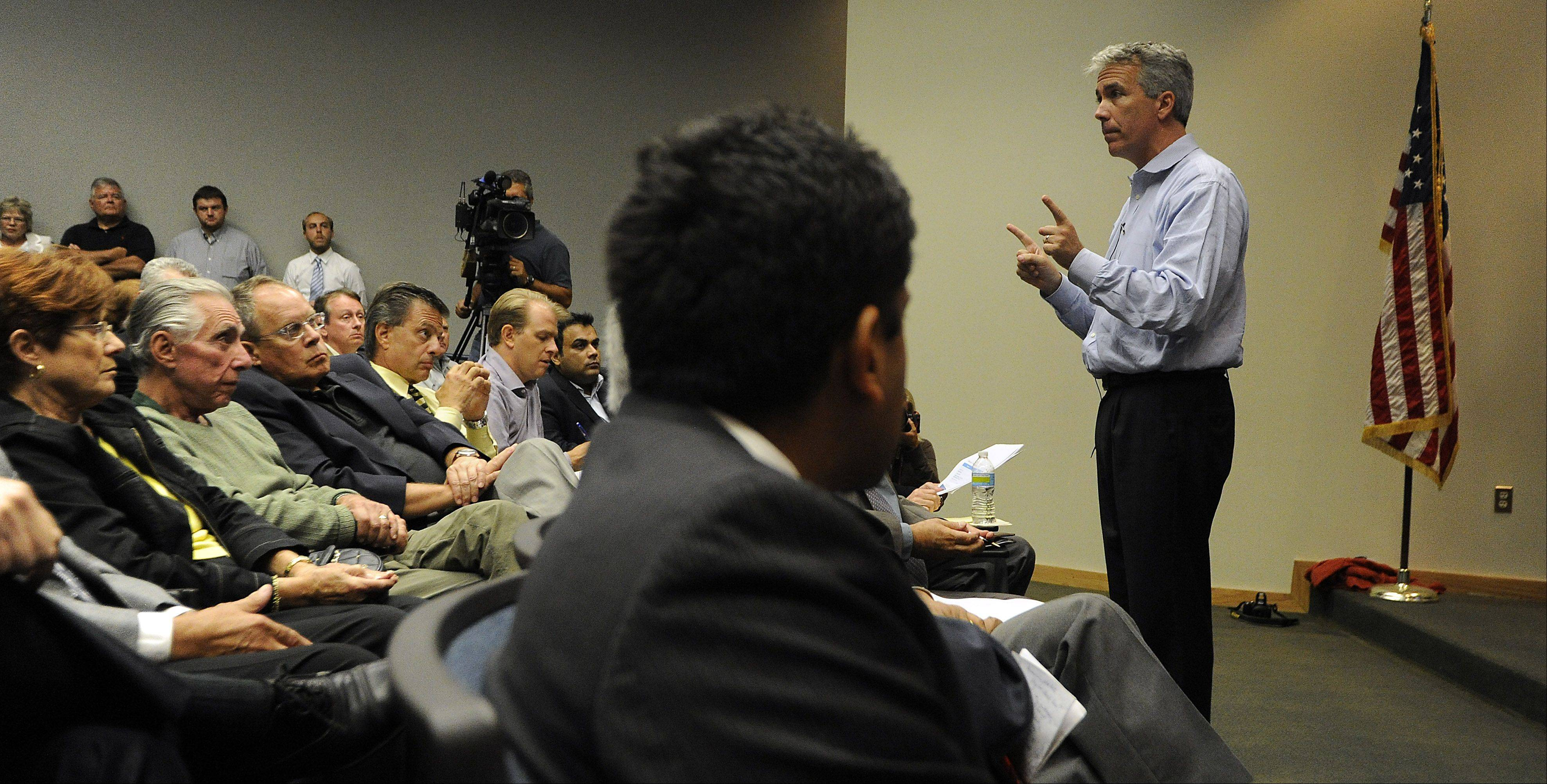 Rep. Joe Walsh, seen here at a small business forum in Schaumburg on Sept. 8, spent much of Tuesday night speaking during a gun rights forum at the Codman Cultural Center in Huntley.