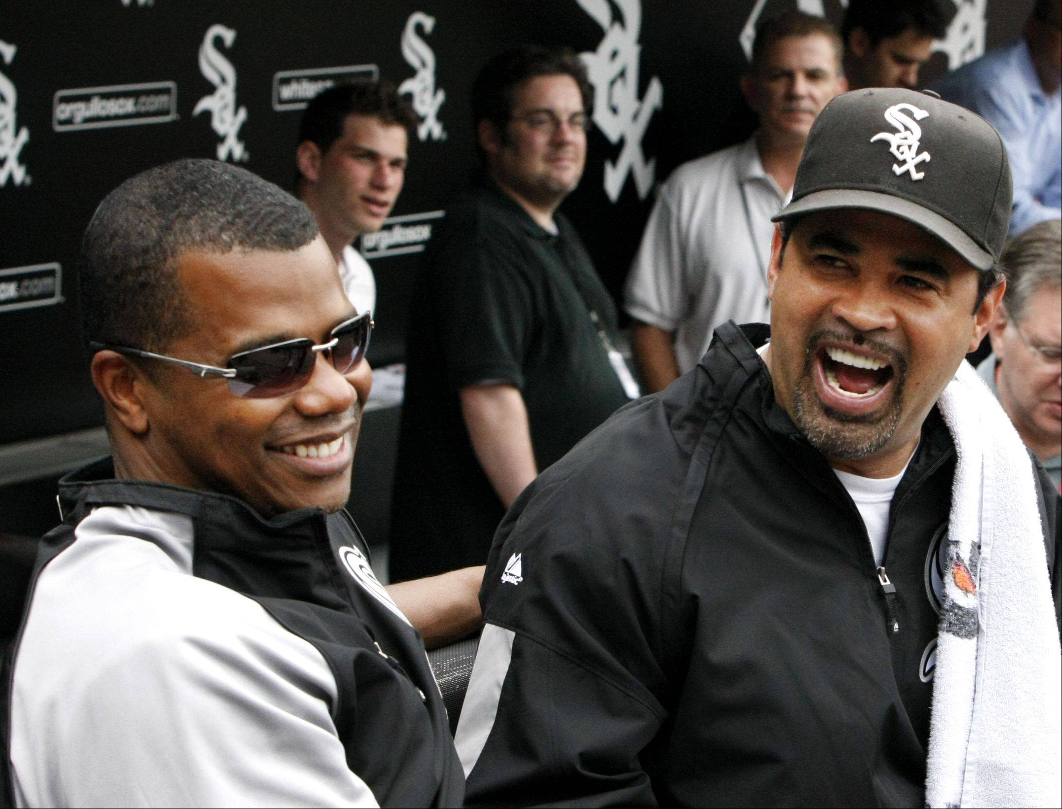 "White Sox general manager Kenny Williams, at left sharing a laugh with former manager Ozzie Guillen, says he has a singular goal: ""I want another banner up there."""