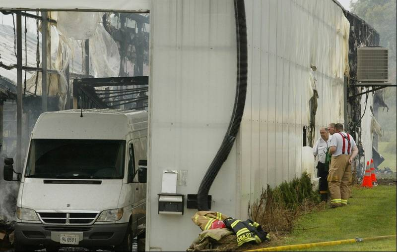 Fire Officials Examine The Scene Of A Tuesday Morning At Klehm Growers Nursery In Hampshire