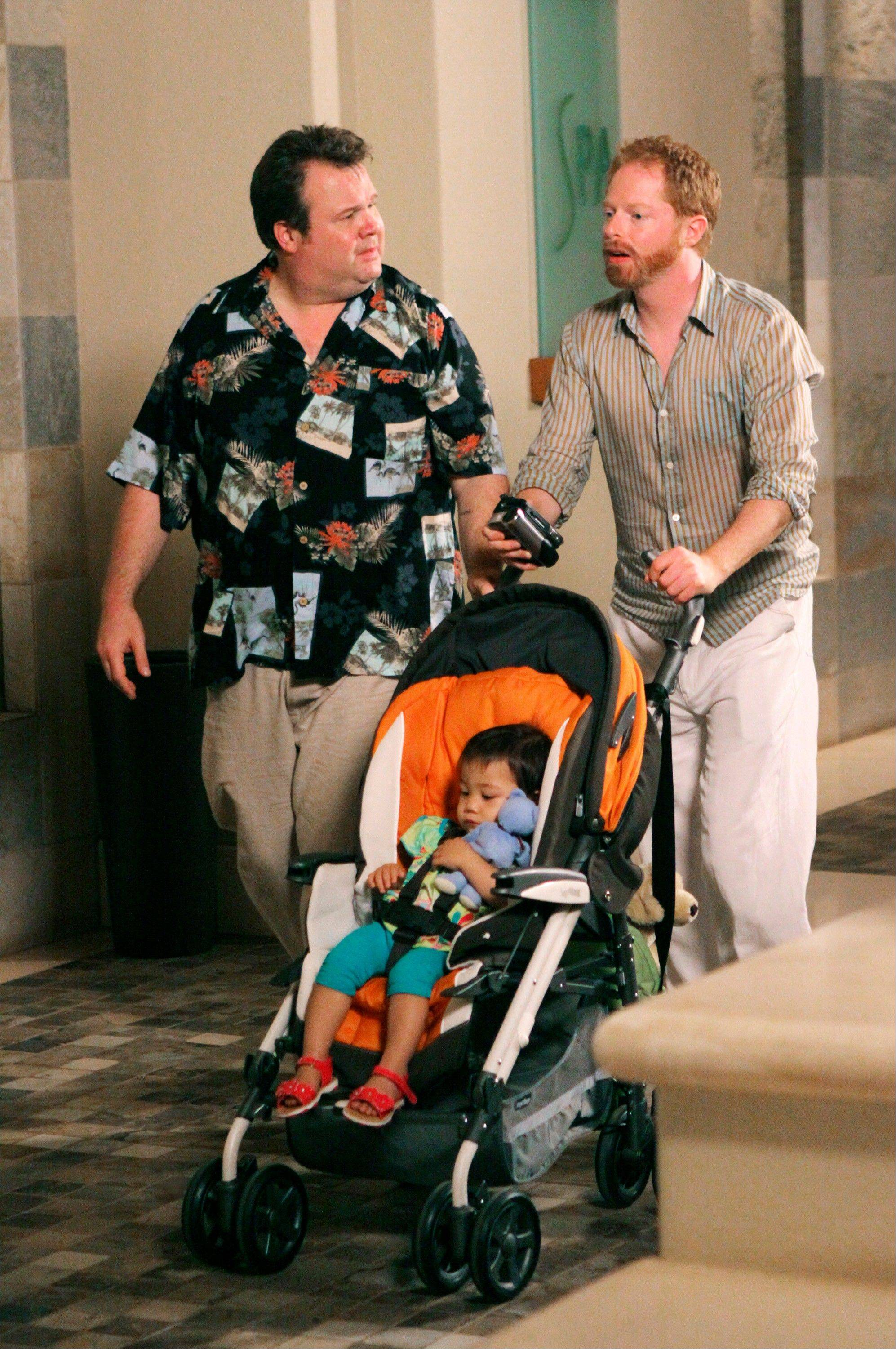 "Eric Stonestreet, left and Jesse Tyler Ferguson are shown in a scene from ""Modern Family."" The 16th annual ""Where We Are on TV"" report released by the Gay & Lesbian Alliance Against Defamation included the ABC comedy."