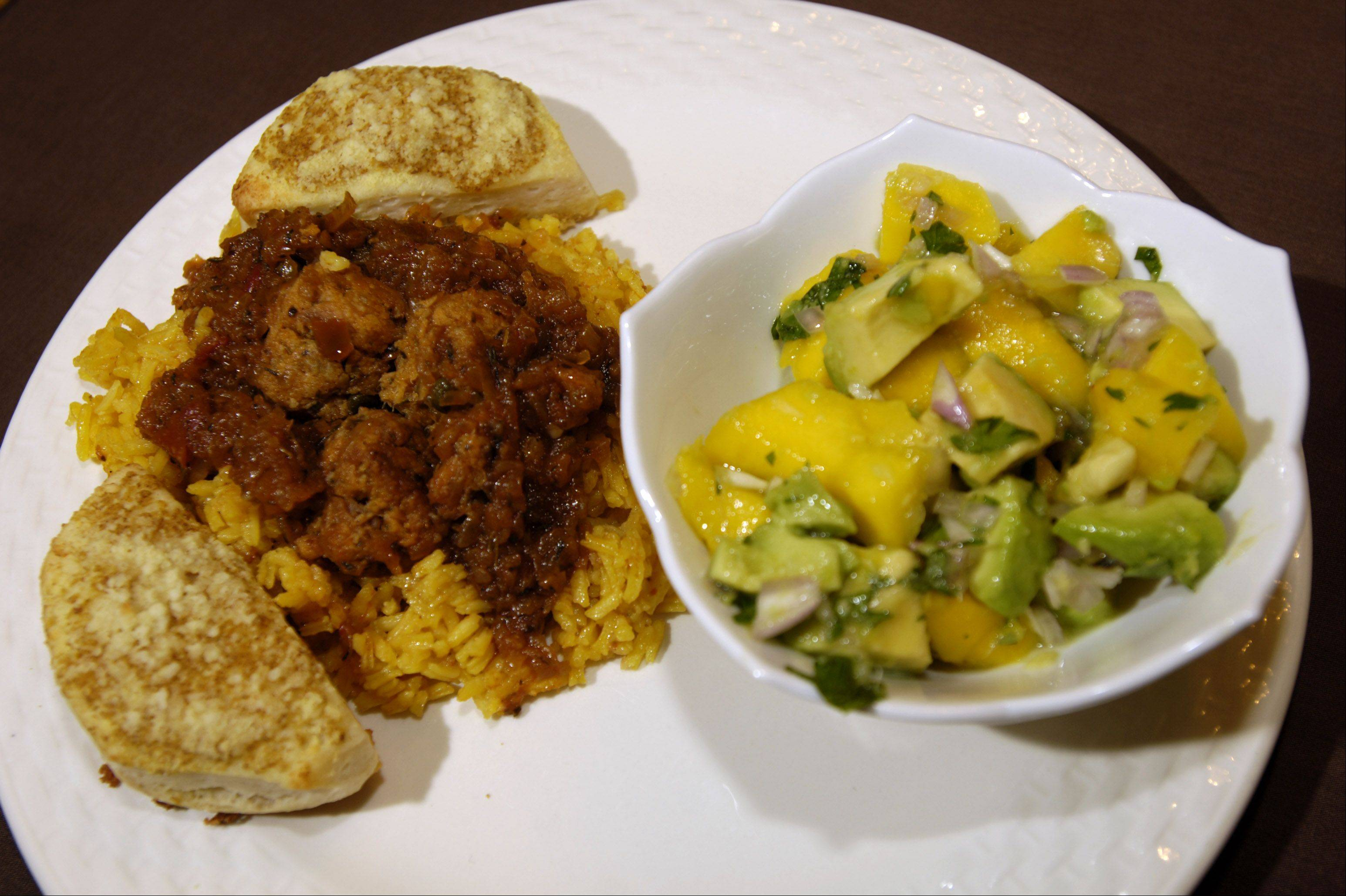 Cuban Tuna with Yellow Rice, Mustard-Butter Biscuits and Mango-Avocado Salad by Judy Mocaco of Glendale Heights.