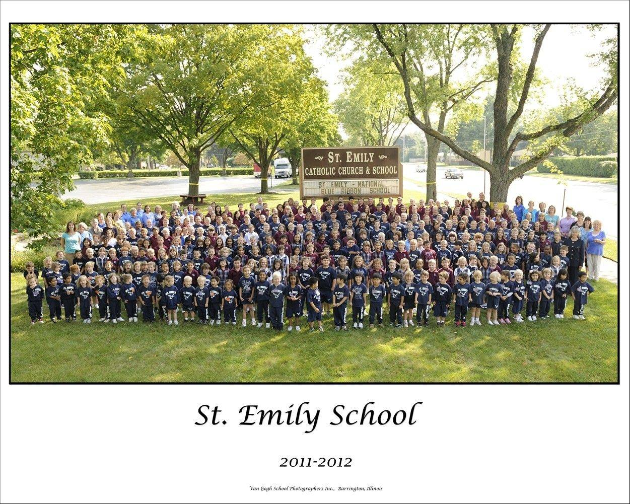 Students of St. Emily School in Mount Prospect gather for a celebratory photo. The Catholic school will receive a Blue Ribbon School Award from the U.S. Department of Education