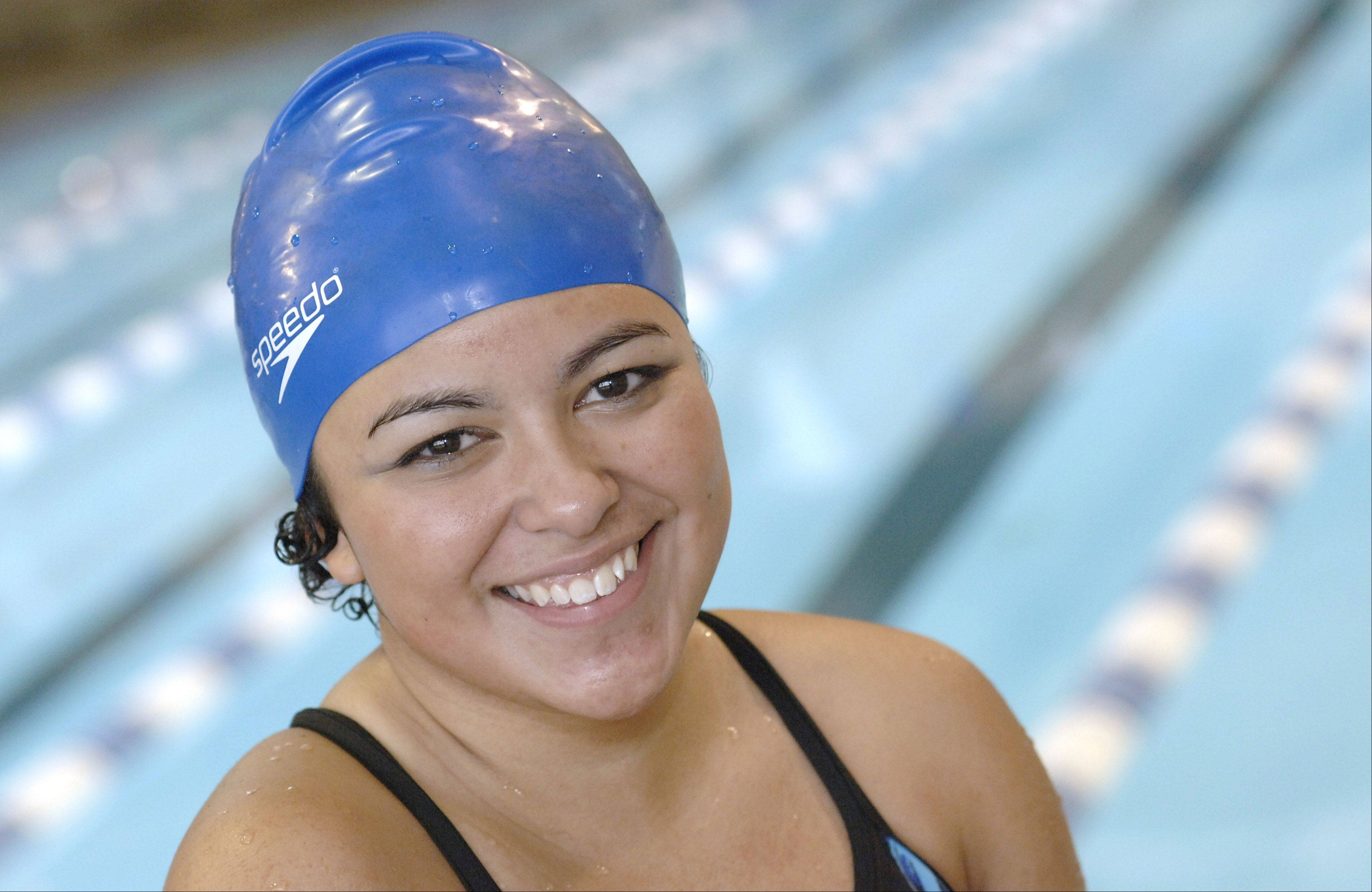 Dundee-Crown�s Samantha Sanchez is back on the school swimming team after beating leukemia into remission.
