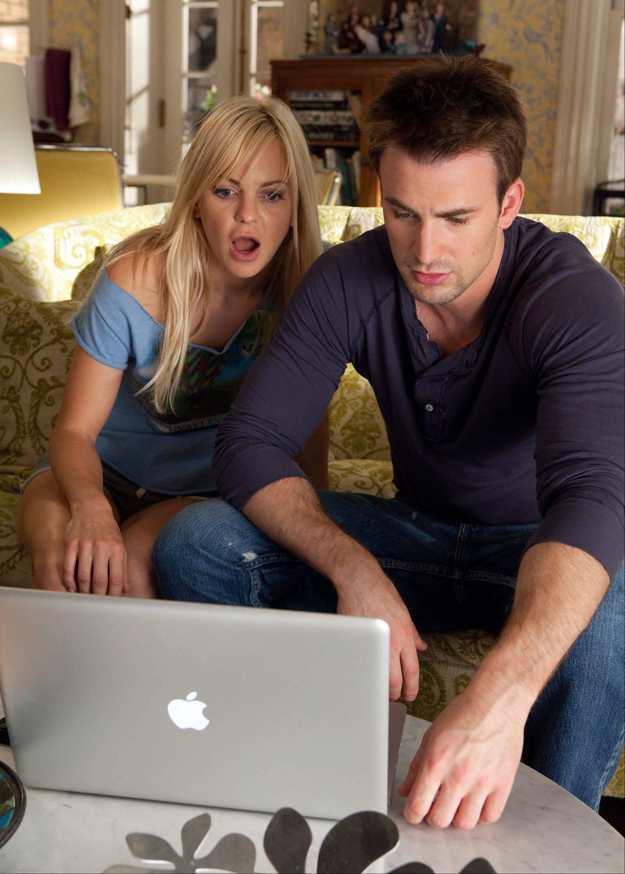 "Anna Faris, left, and Chris Evans dig up the scoop on her former lovers in ""What's Your Number?"""