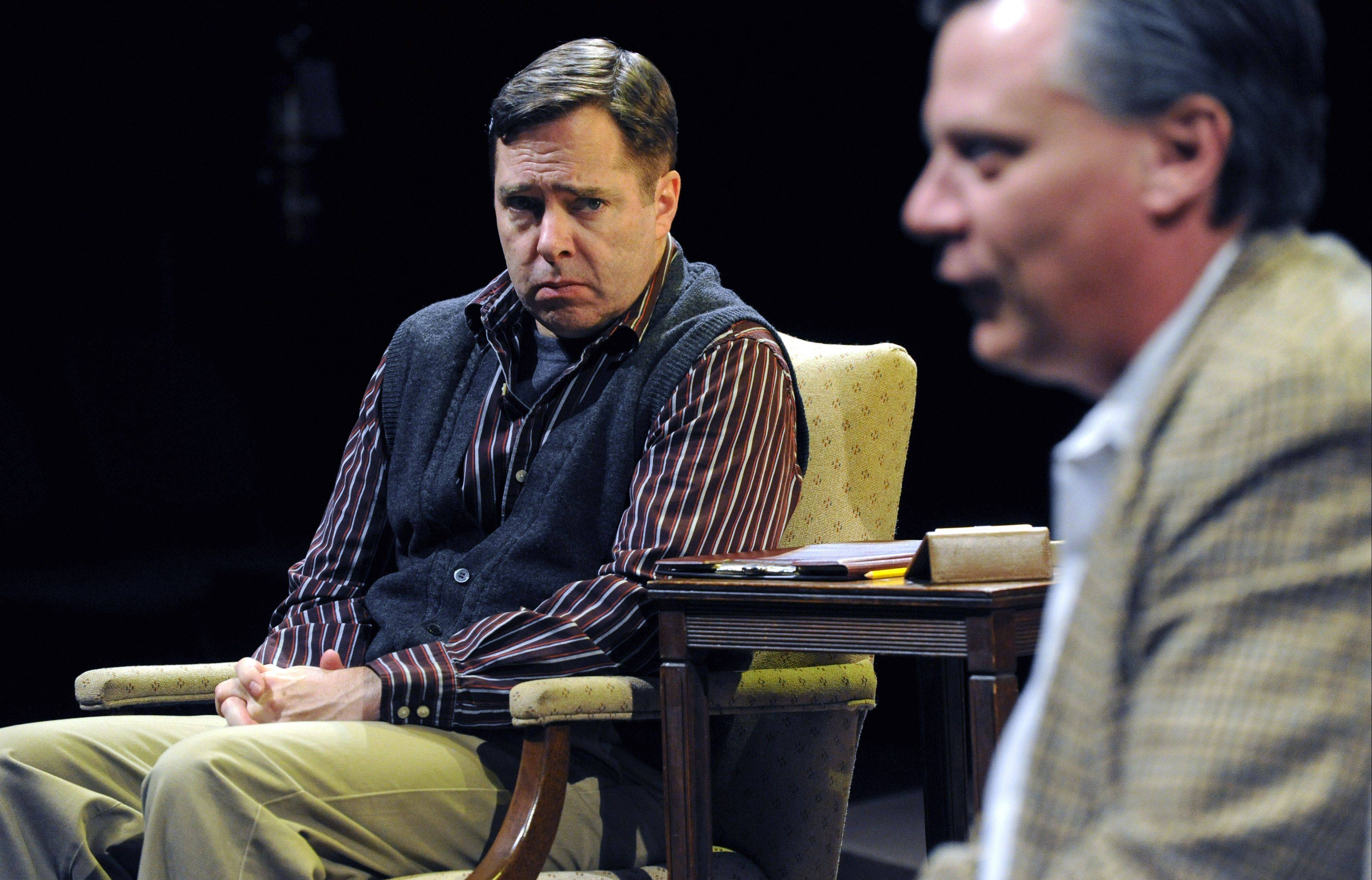 "Ian (Robert Jordan Bailey, left) is troubled as he listens to the widower John (Gary Simmers) during a therapy session in THE ghostly drama ""Shining City"" by Buffalo Theatre Ensemble."