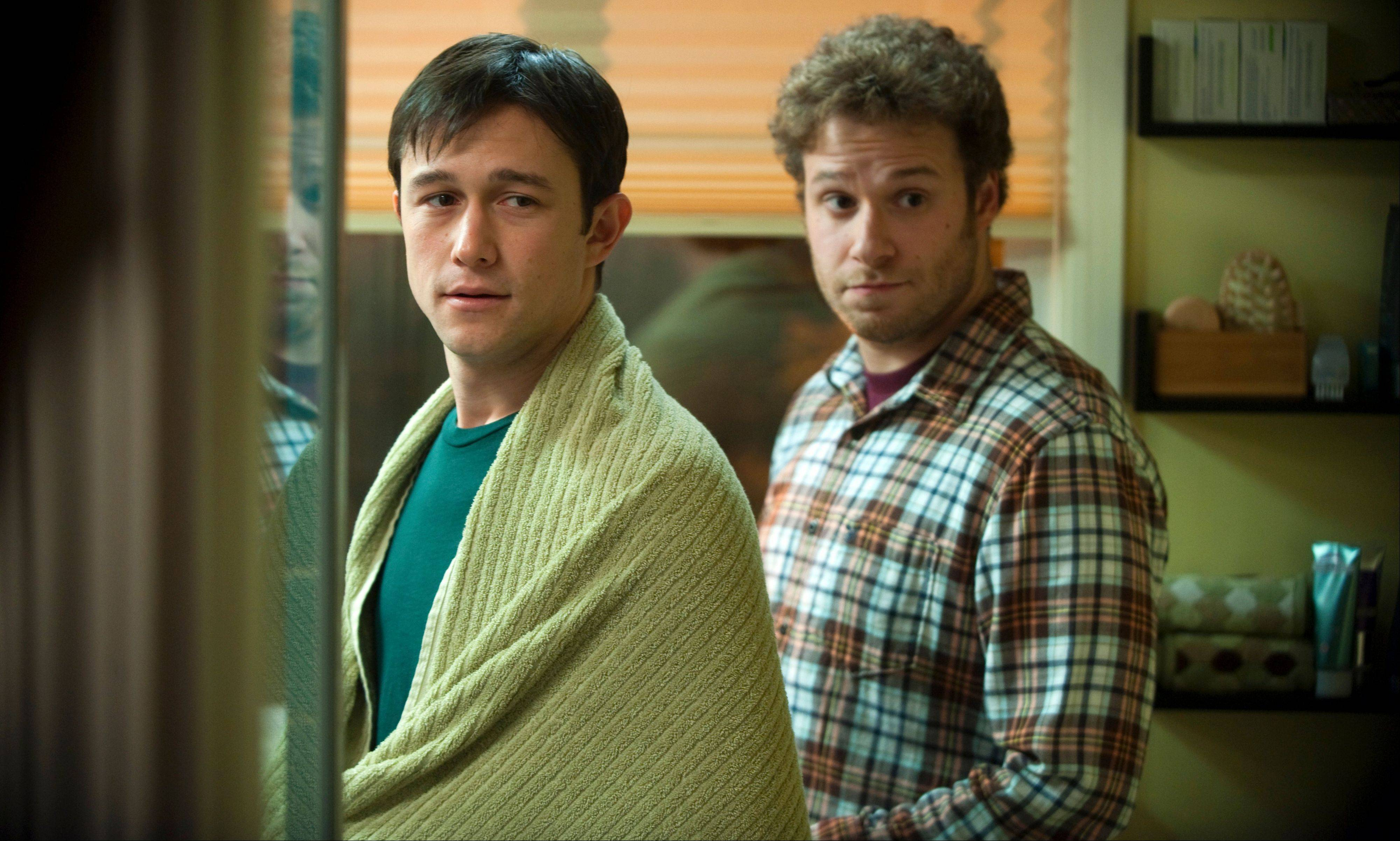"Adam (Joseph Gordon-Levitt), left, and Kyle (Seth Rogen) deal with the implications of cancer in ""50/50,"" based on the experiences of Hollywood screenwriter Will Reiser."