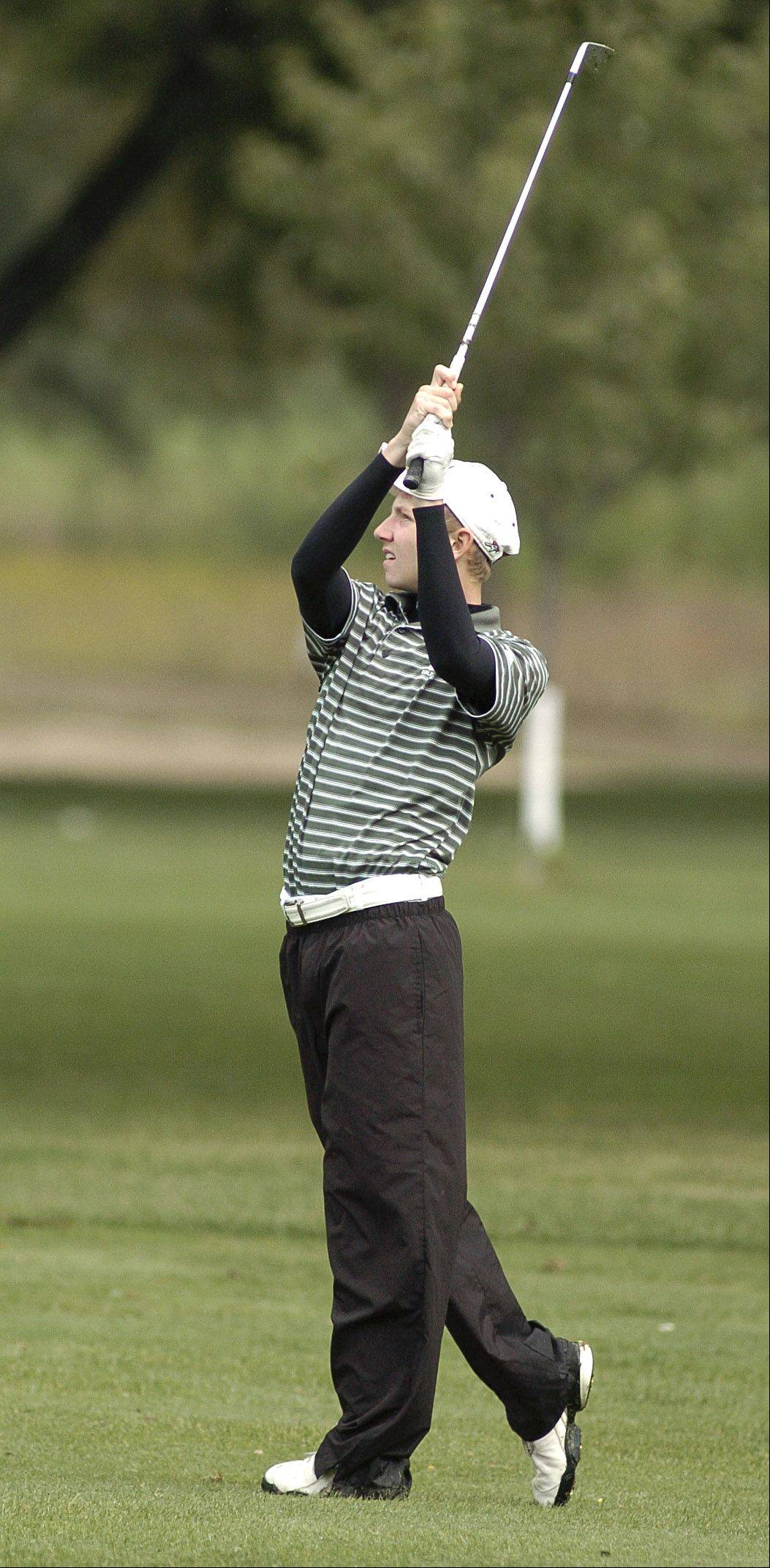 Waubonsie Valley�s Alec Meyer on the fairway of the seventeenth hole at the Upstate Eight Conference meet on Thursday, September 29.