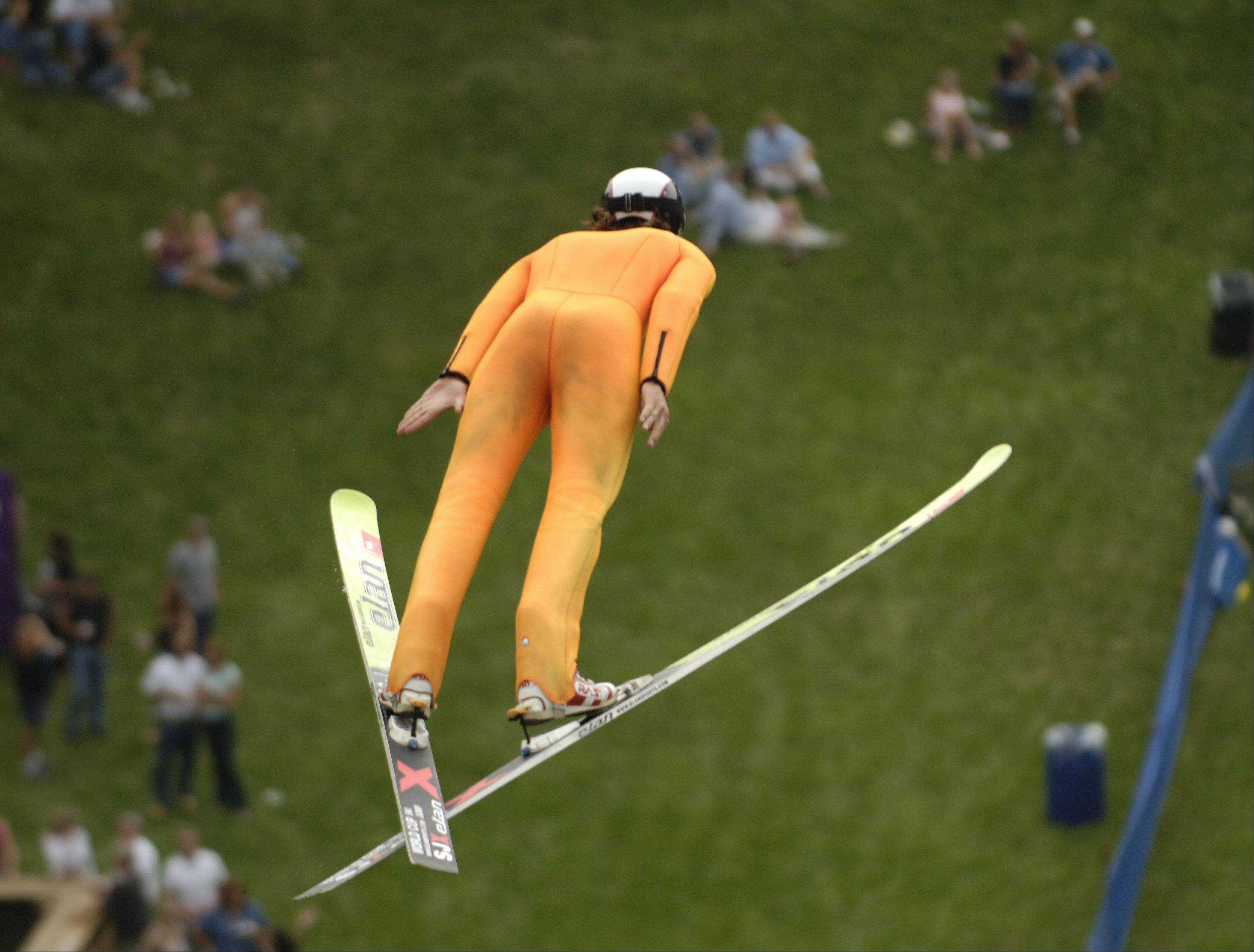 Norge Ski Club in Fox River Grove will be hosting the U.S. Ski Jumping and Nordic Combined Championships on Saturday, while its annual special jumping tournament will take place Sunday. In this 2006 photo, Anders Johnson of the U.S. ski team flies over Norge's 70-meter hill.