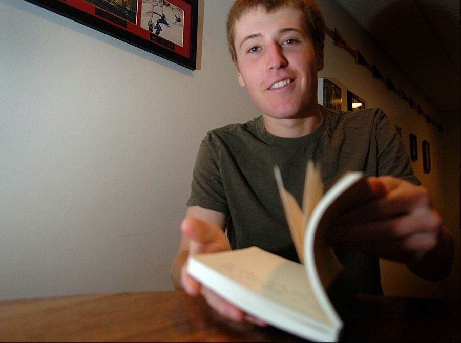 AJ Lubecker, 17, of Algonquin always writes new material and organizes it in his journal.