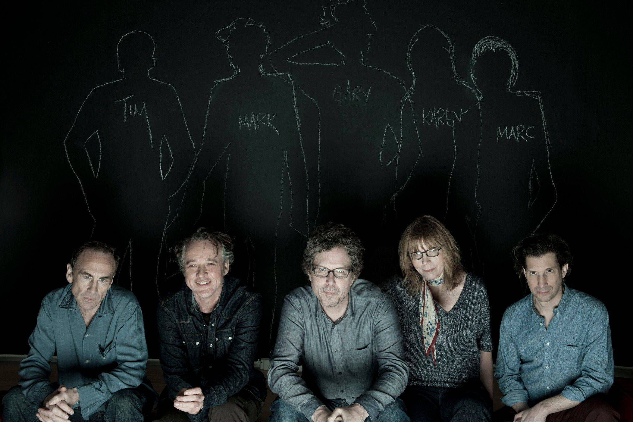 "Members of the Jayhawks, from left, Tim O'Reagan, Mark Olson, Gary Louris, Karen Grotberg and Marc Perlman are an active touring unit again and have a new disc, ""Mockingbird Time."""