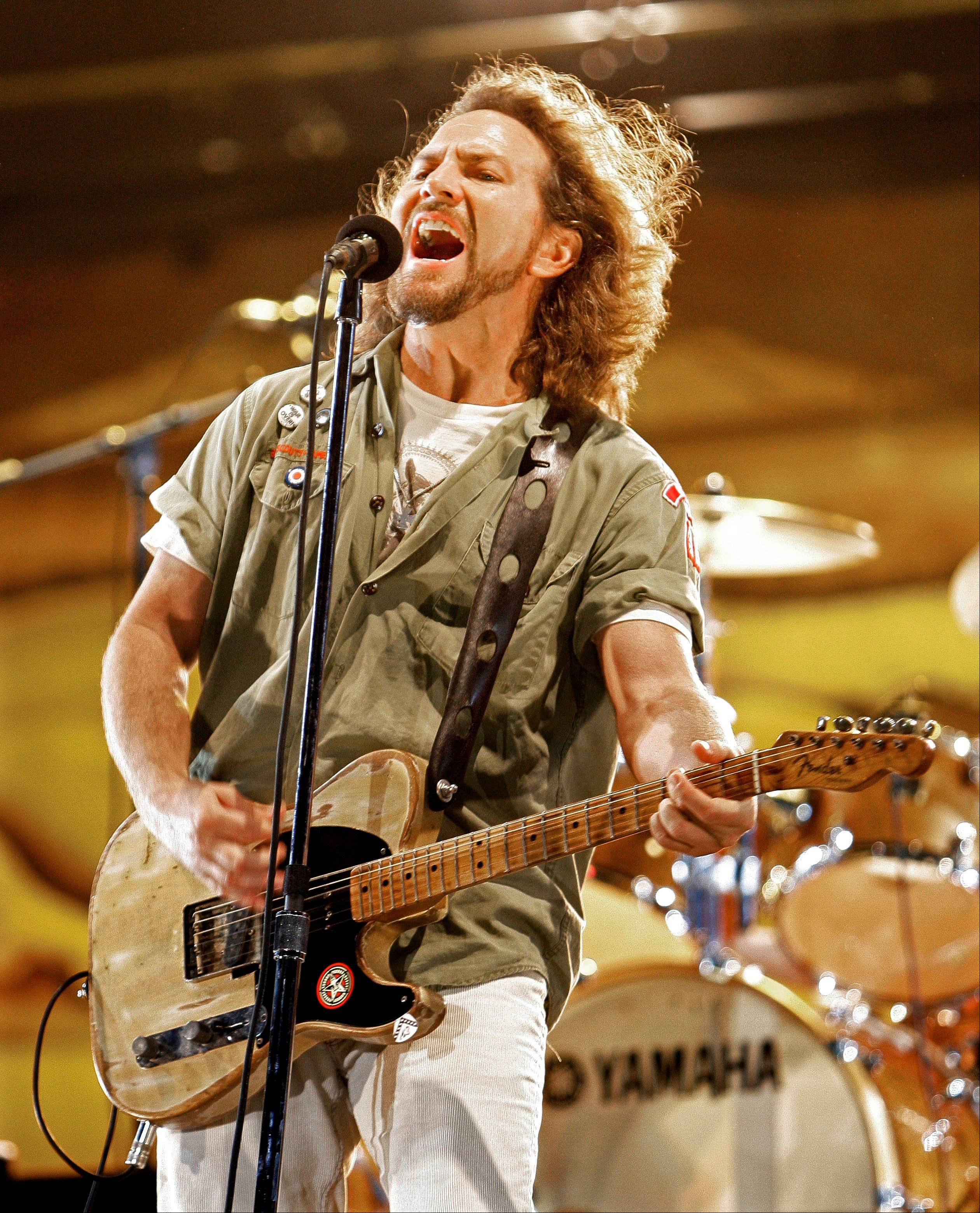 """Pearl Jam Twenty"" includes footage from throughout the band's career, including Eddie Vedder performing at the Bonnaroo music festival in 2008."