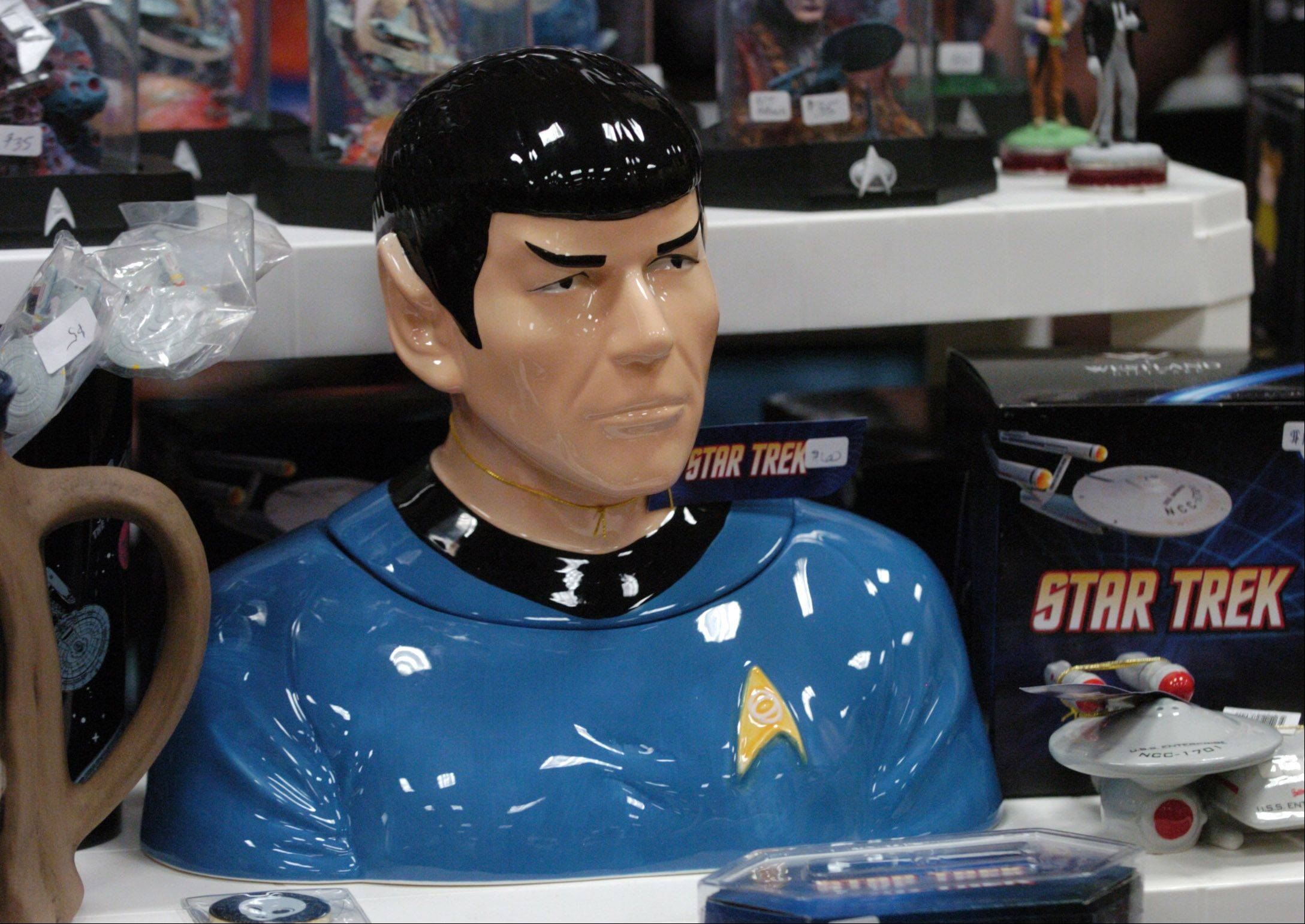 Mr. Spock bust among the items being sold during the Star Trek convention at the Westin O'Hare in Rosemont Friday.