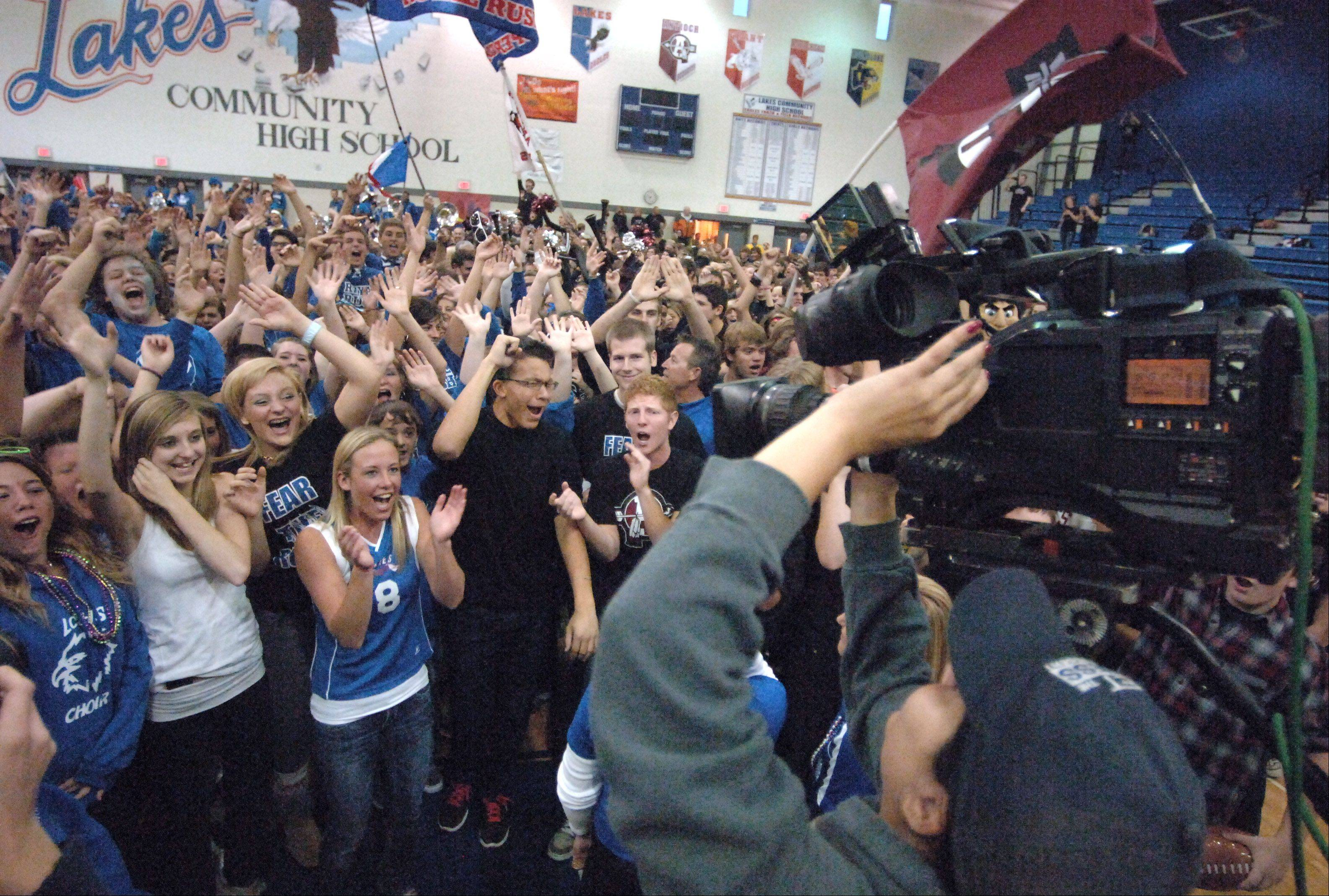 "Antioch and Lakes high schools participate in NBC 5 News Today's ""Prep Destination of the Week"" with students packing Lakes' gymnasium early Friday morning. Channel 5's Maria Ruiz captures the excitement for the live broadcast of the Dance Friday segment in Lake Villa."