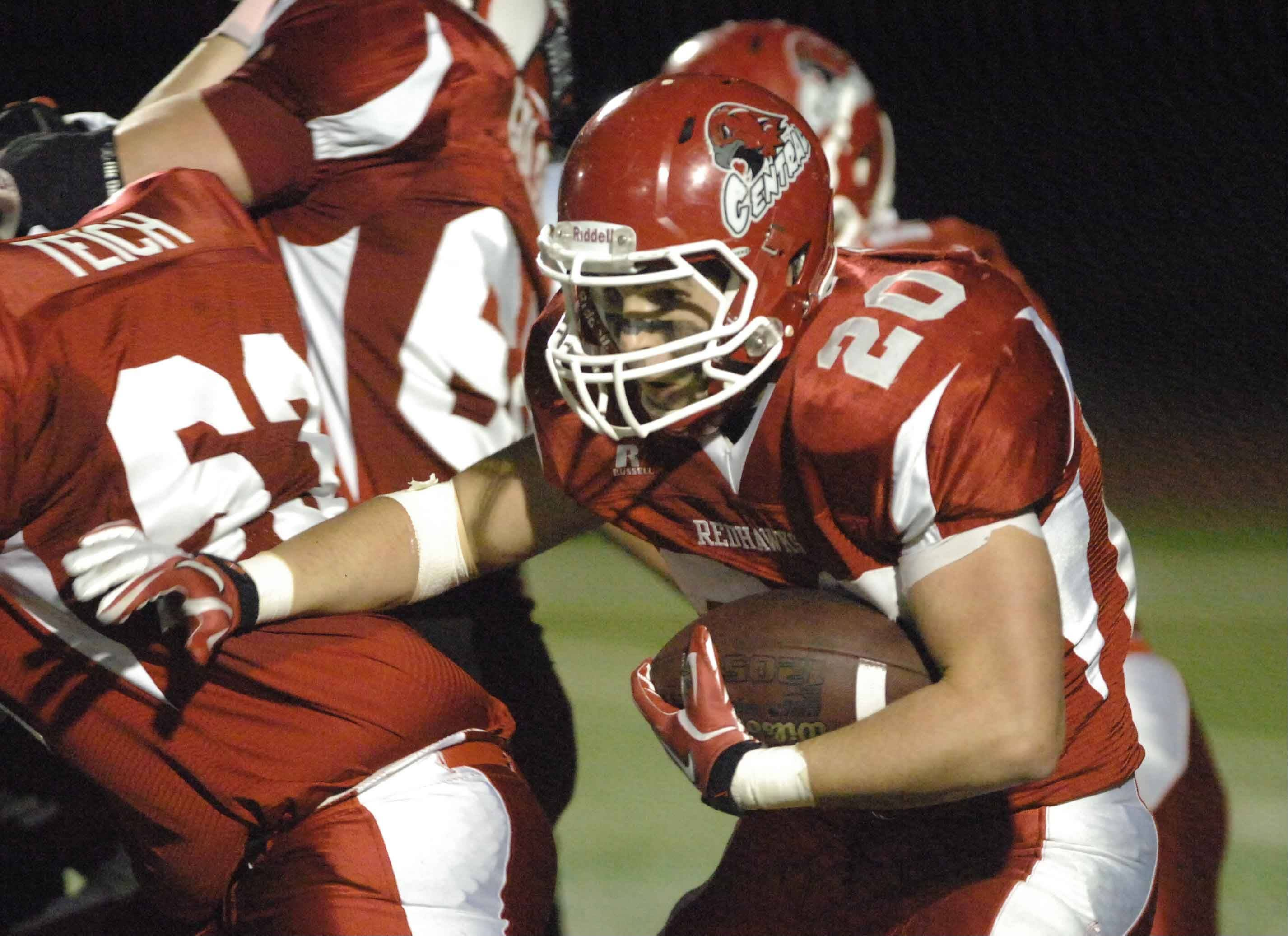 Week 6- Matt Randolph of Naperville Central moves the ball.