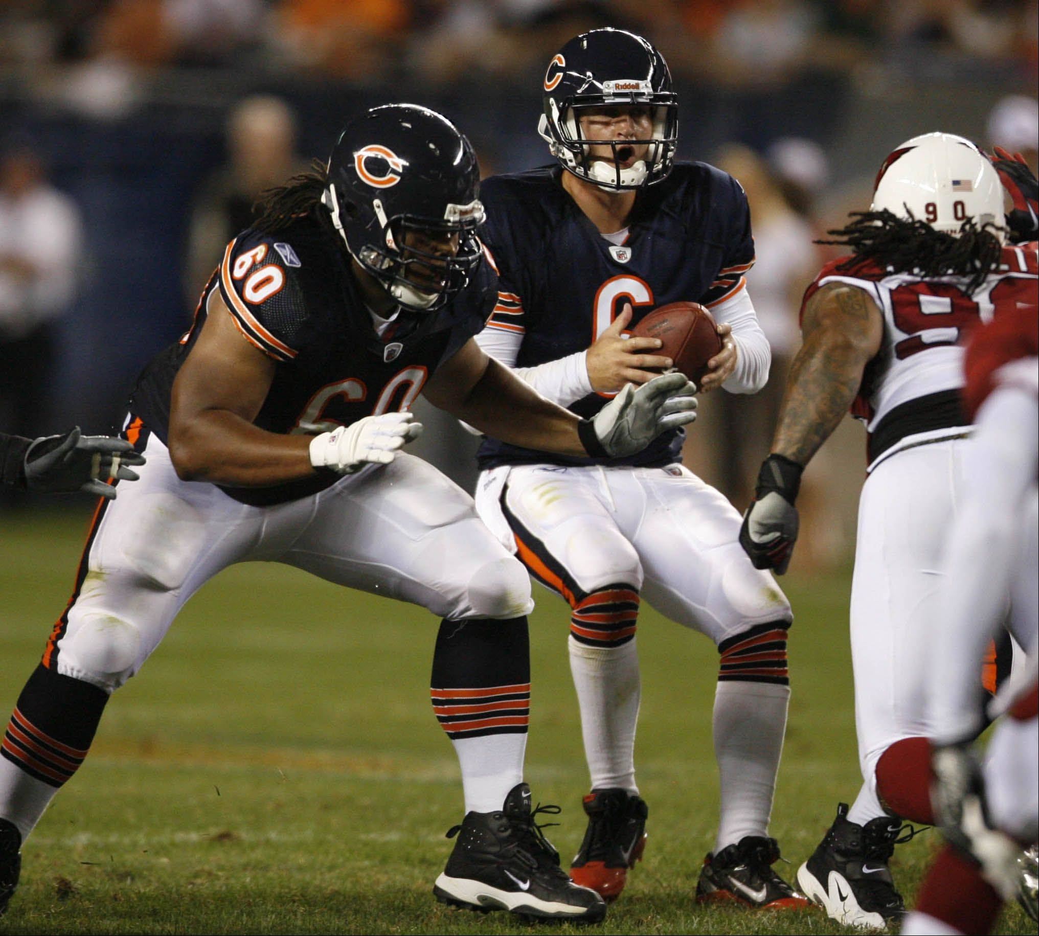 GEORGE LECLAIRE/gleclaire@dailyherald.com Lance Louis (60) is ready to return to the Bears lineup to help block for Jay Cutler.