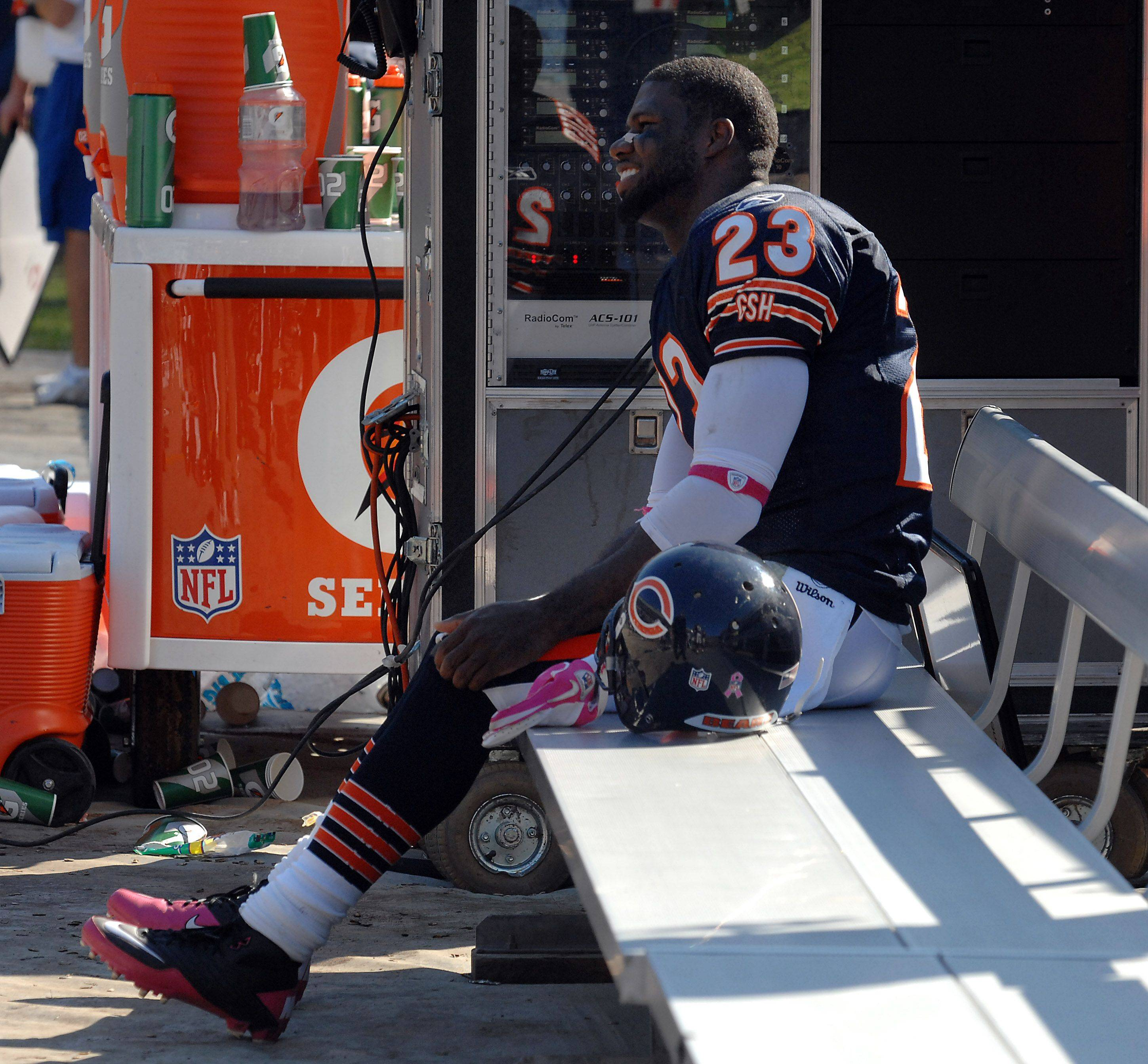 Bears Devin Hester sits on the bench in the 4th quarter all smiles after a record-setting day at Soldier Field against the Panthers.