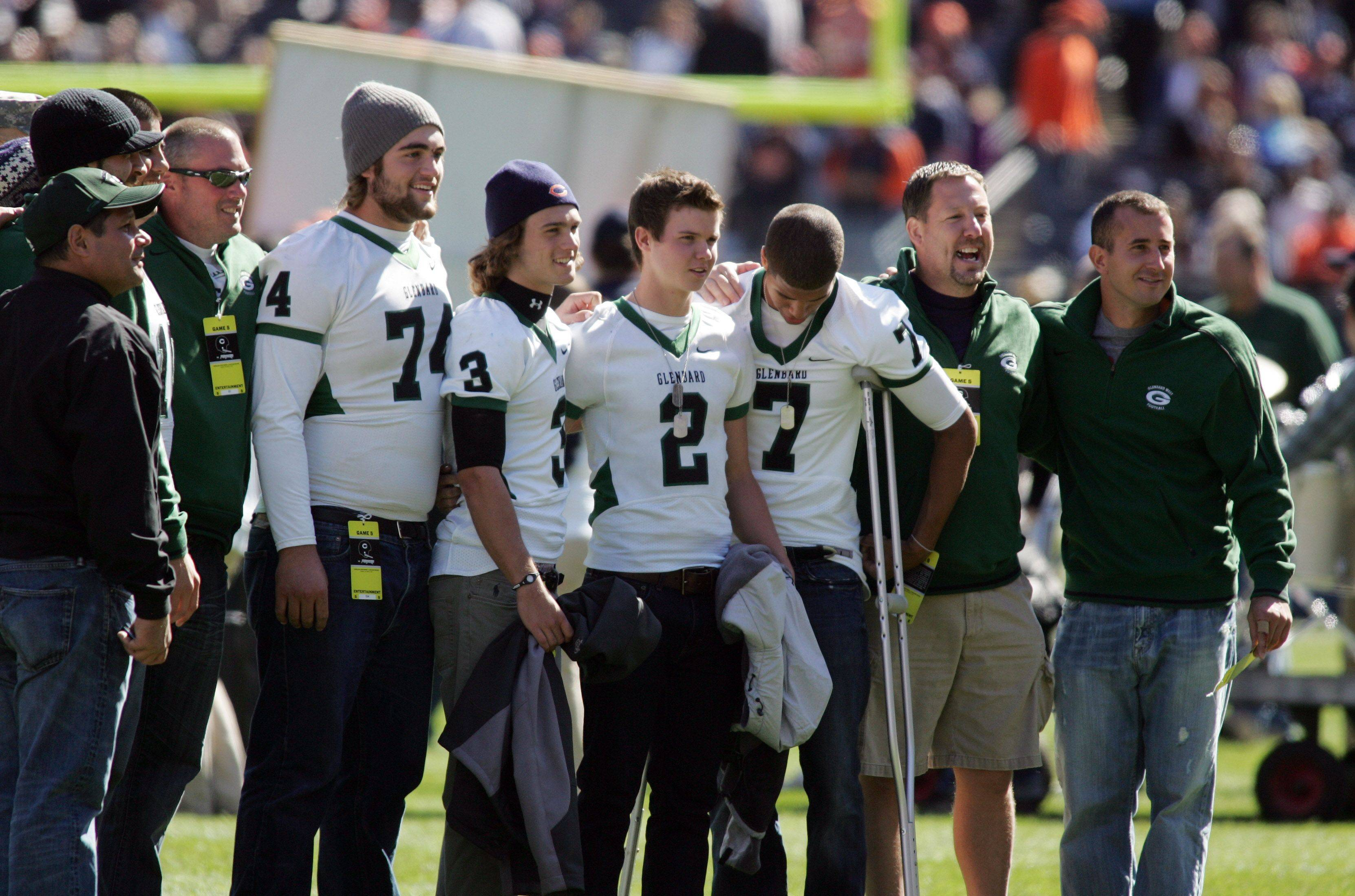 The Glenbard West Hilltoppers honored at the Chicago Bears vs. Carolina Panthers game at Soldier Field.