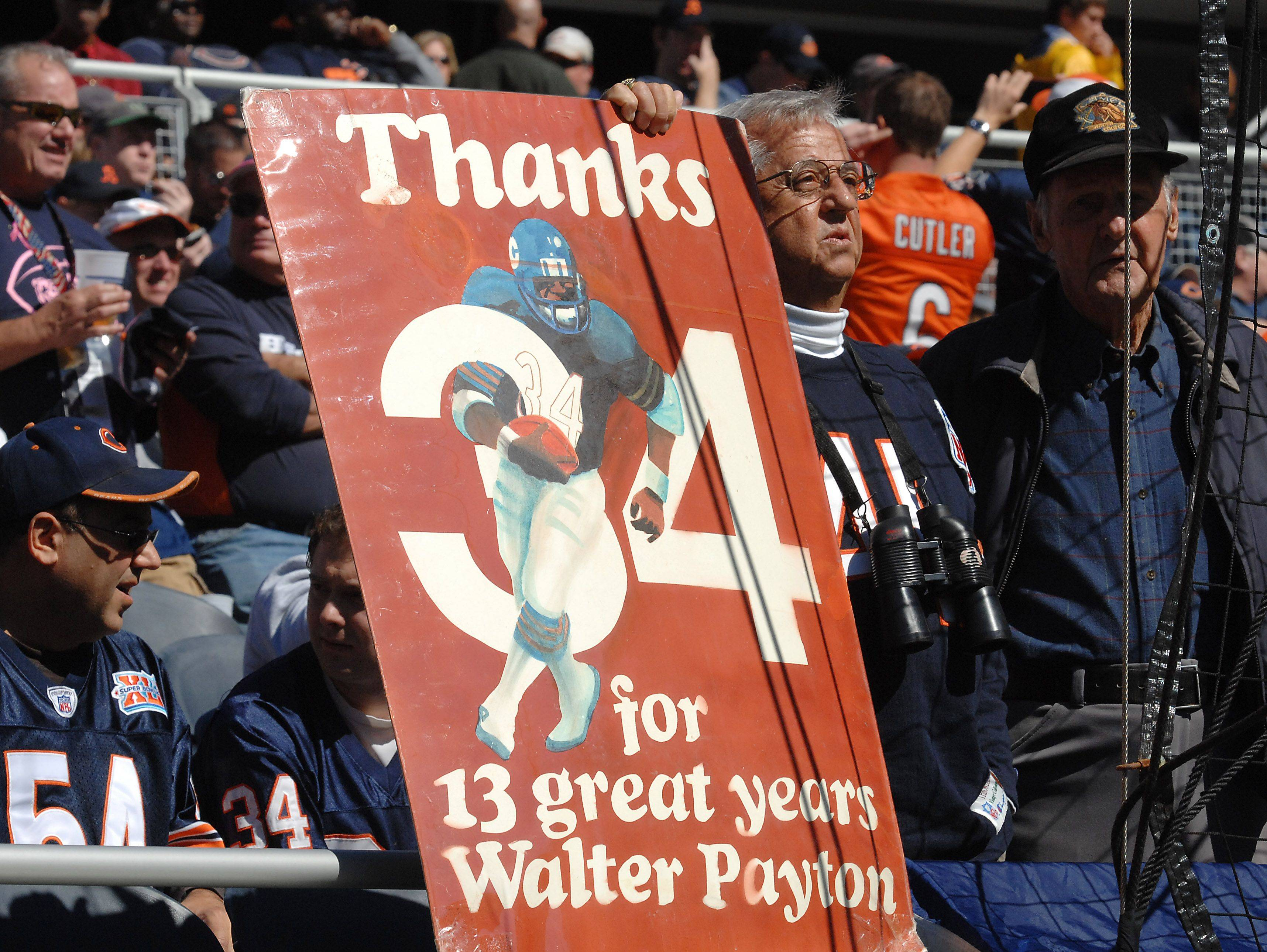 Fans remember the great Chicago Bear Walter Payton at Sunday's game against the Panthers.