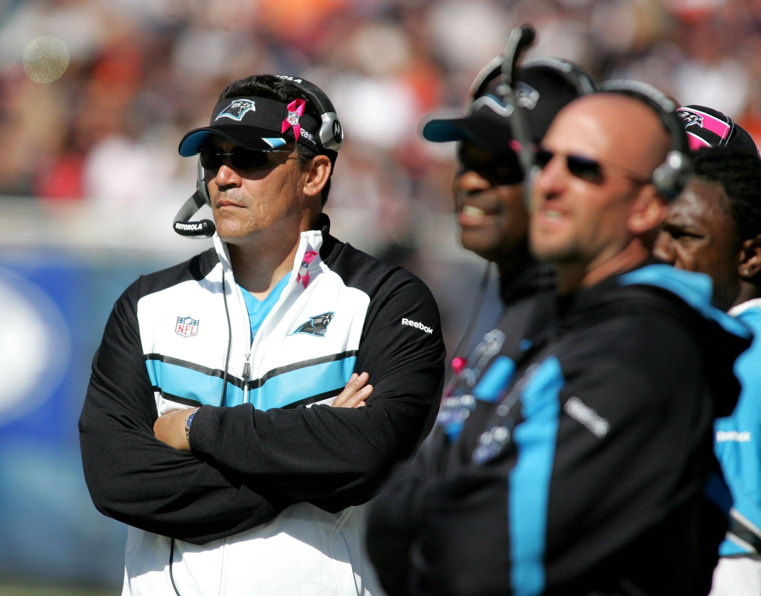 Ron Rivera, head coach for the Carolina Panthers at Soldier Field on Sunday.