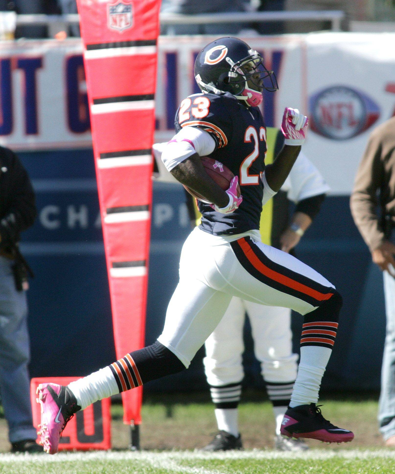 Devin Hester of the Chicago Bears runs 69 yards for a touchdown against the Carolina Panthers at Soldier Field.