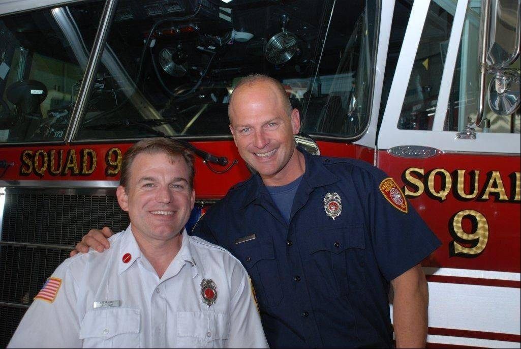 Pat Murray, left, and his brother, firefighter/paramedic Tim Murray, are full-time firefighters in Schaumburg and part-time in Prospect Heights, where this photo was taken.