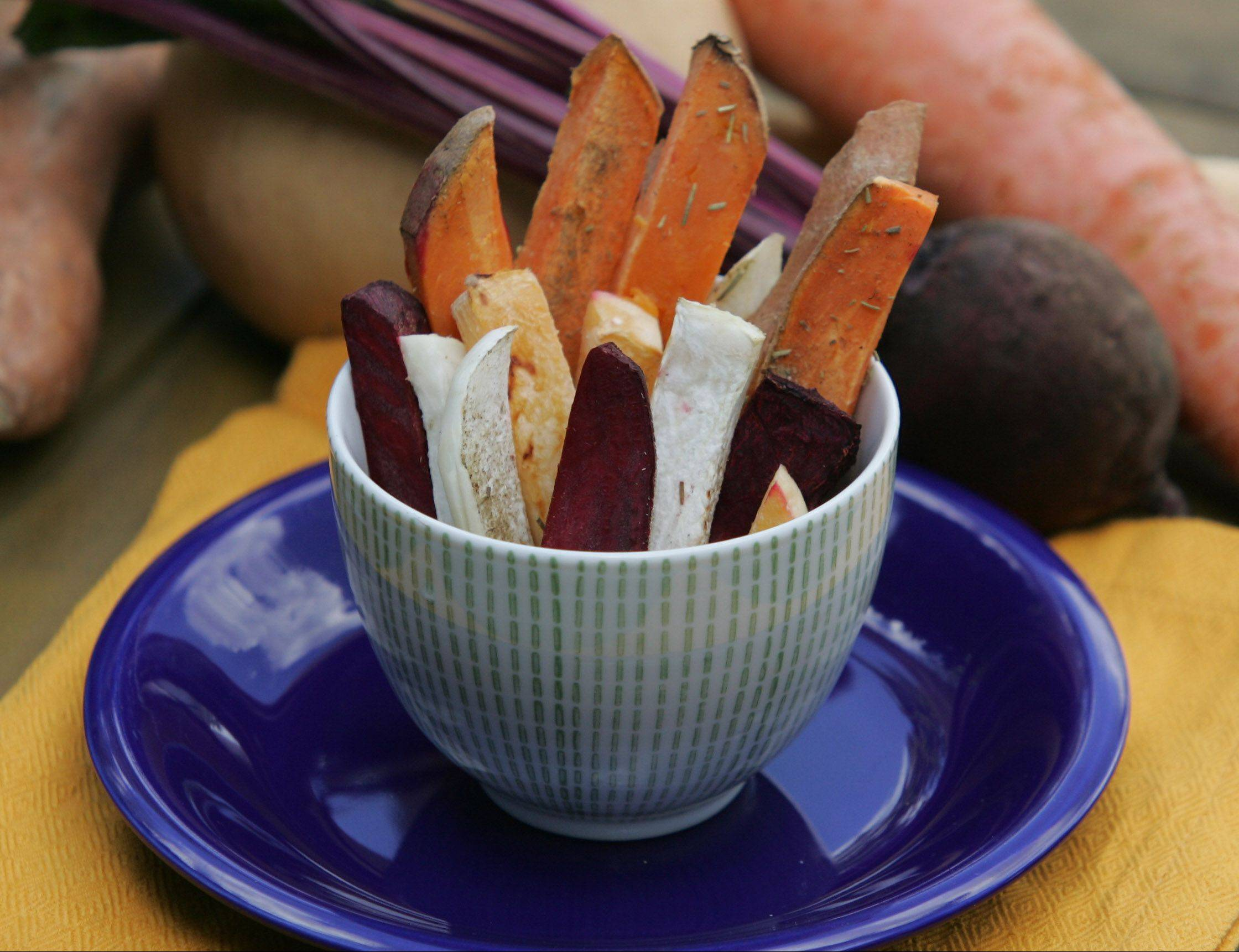 Try these roasted root vegetable fries along side a lean steak or baked chicken.