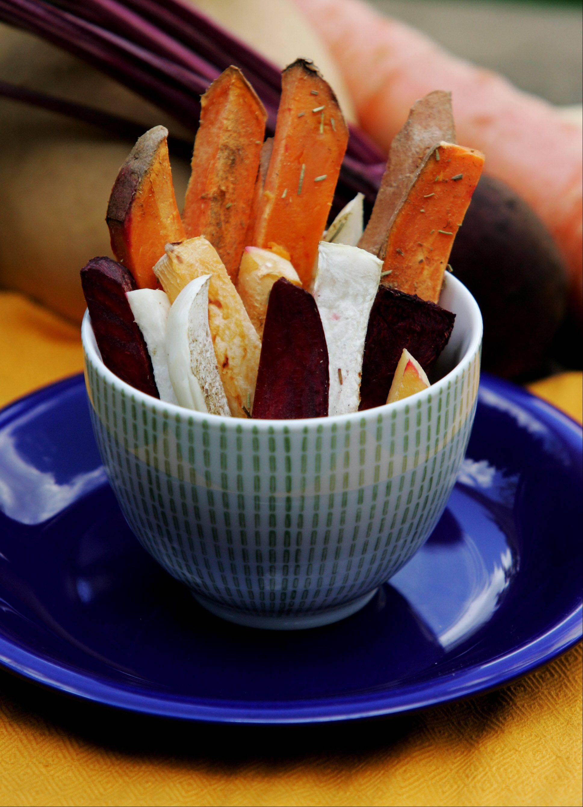 Substitute roasted root vegetables for traditional french fries.