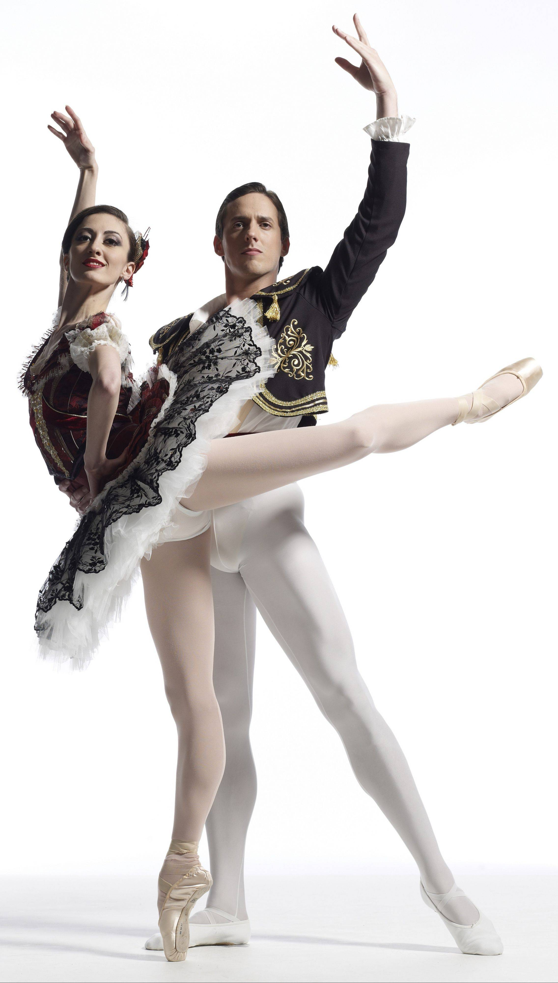 "Victoria Jaiani and Miguel Angel Blanco perform in The Joffrey Ballet's ""Don Quixote"" starting Wednesday, Oct. 12."
