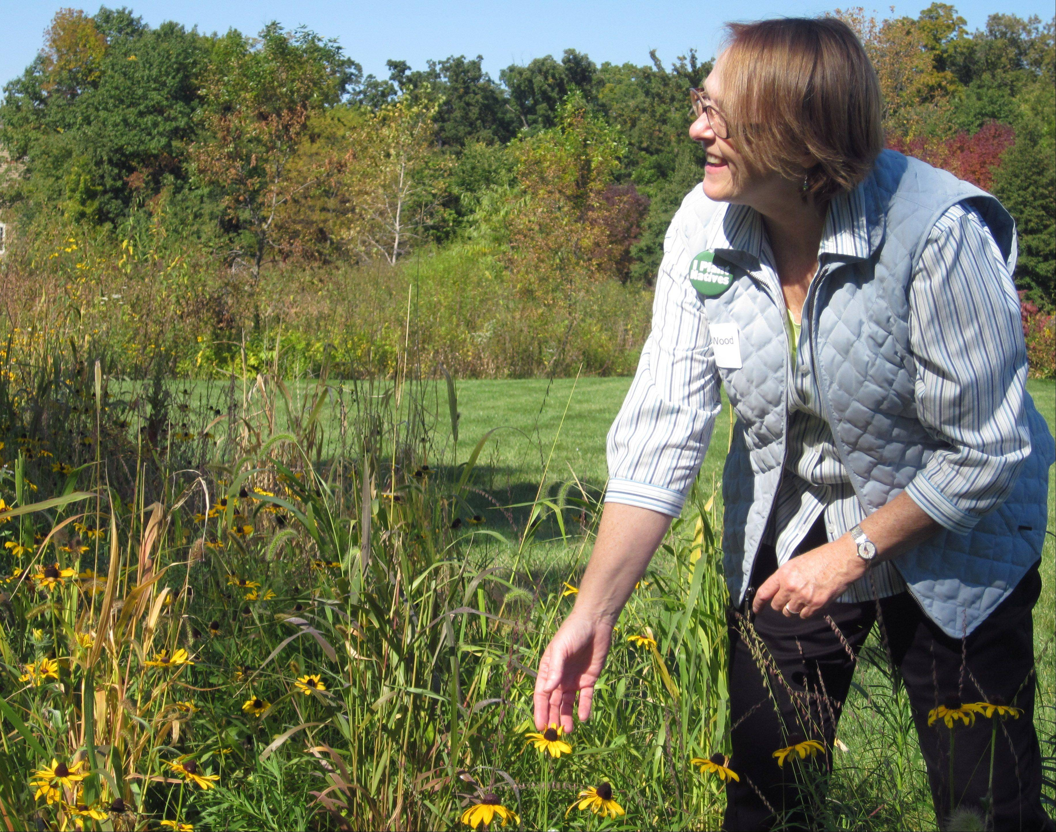 Louise Wood in the garden of her Green Oaks home Tuesday. The majority of plants are native to Lake County.
