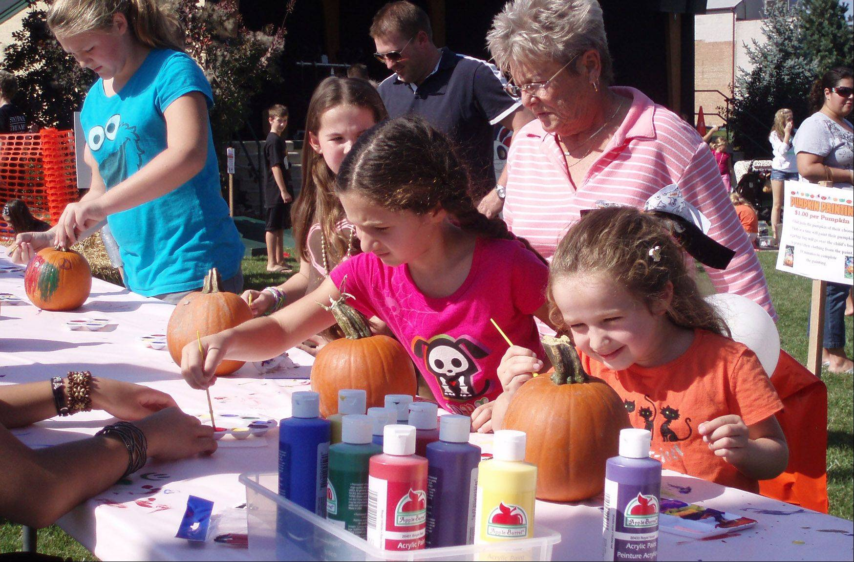 Pumpkin painting at the Antioch's Fall Fest.