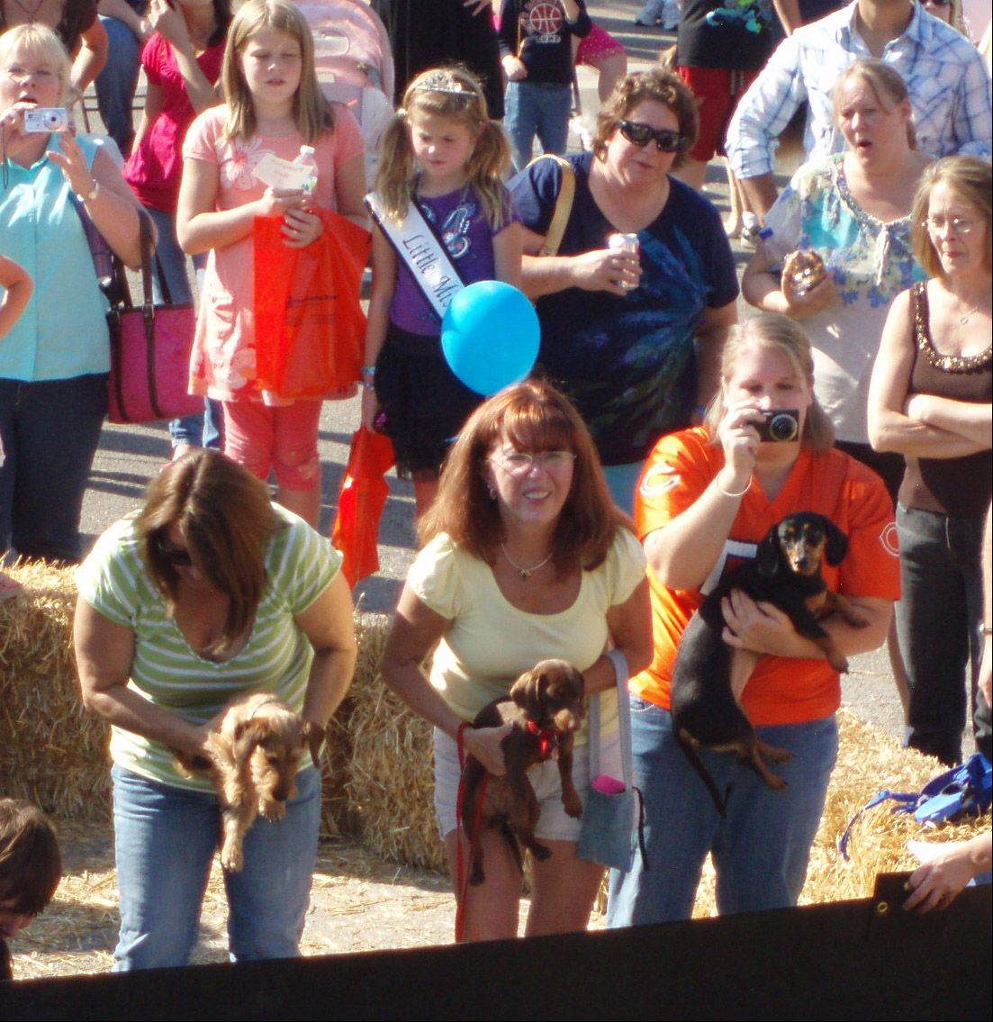 Competitors ready to participate in the Weiner Races at the Antioch's Fall Fest.