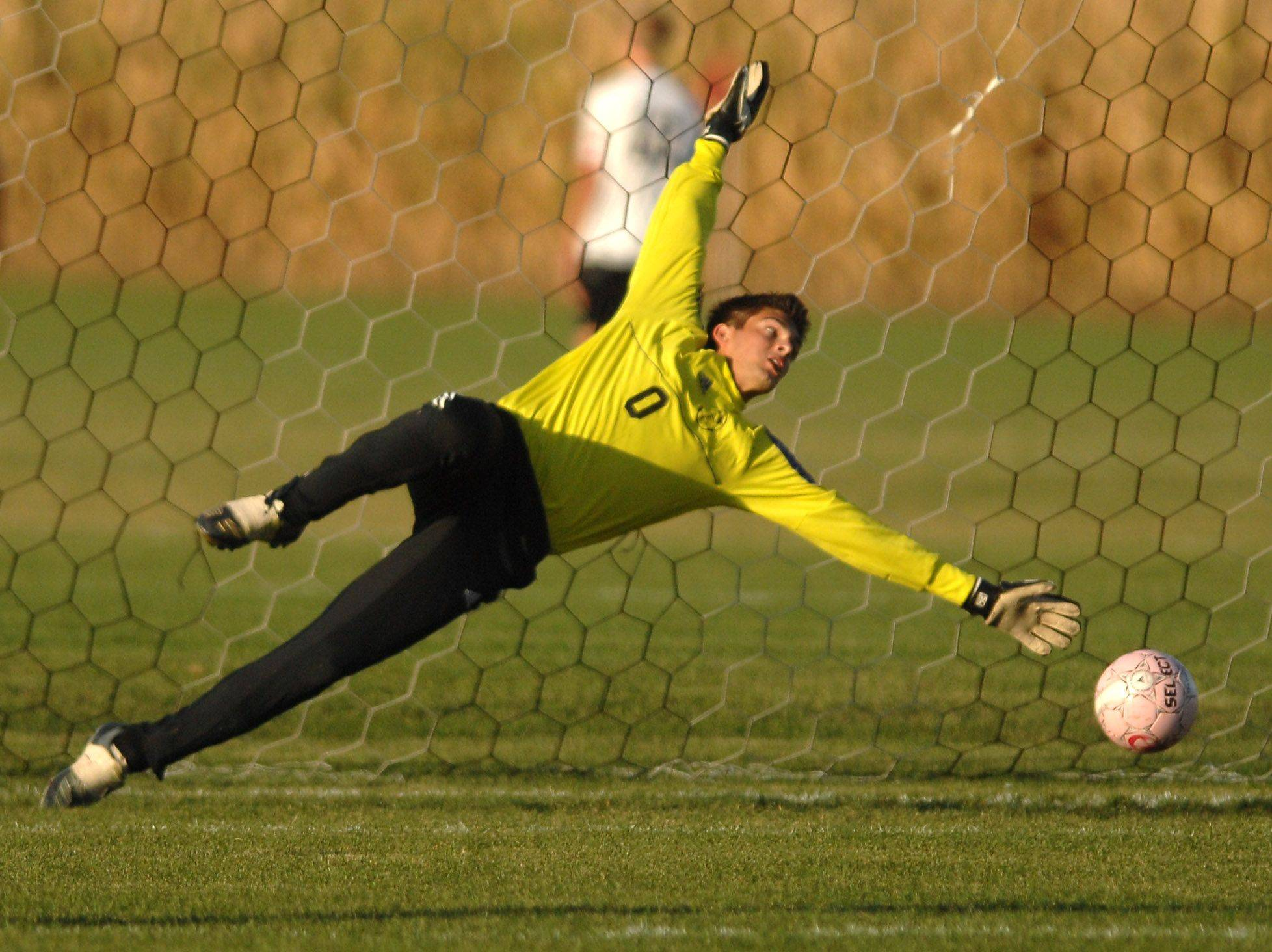 Kaneland goalkeeper Marshall Farthing can't reach the second Rochelle goal Thursday in Maple Park.