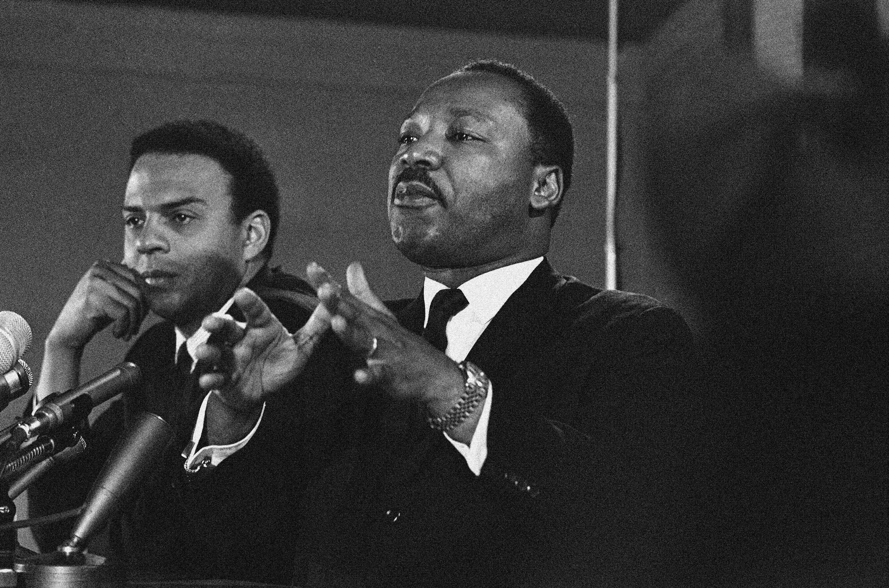 On Feb. 7, 1968, the Rev. Dr. Martin Luther King Jr., center, speaks to an audience, while promising a massive demonstration in the spring in Washington and hinting the crusade may be extended to the political party conventions in August. Veterans of past social movements say the Occupy Wall Street protest has been a welcome response to the abysmal economy and has the potential to galvanize wide support, but whether it will lead to lasting political change remains to be seen.
