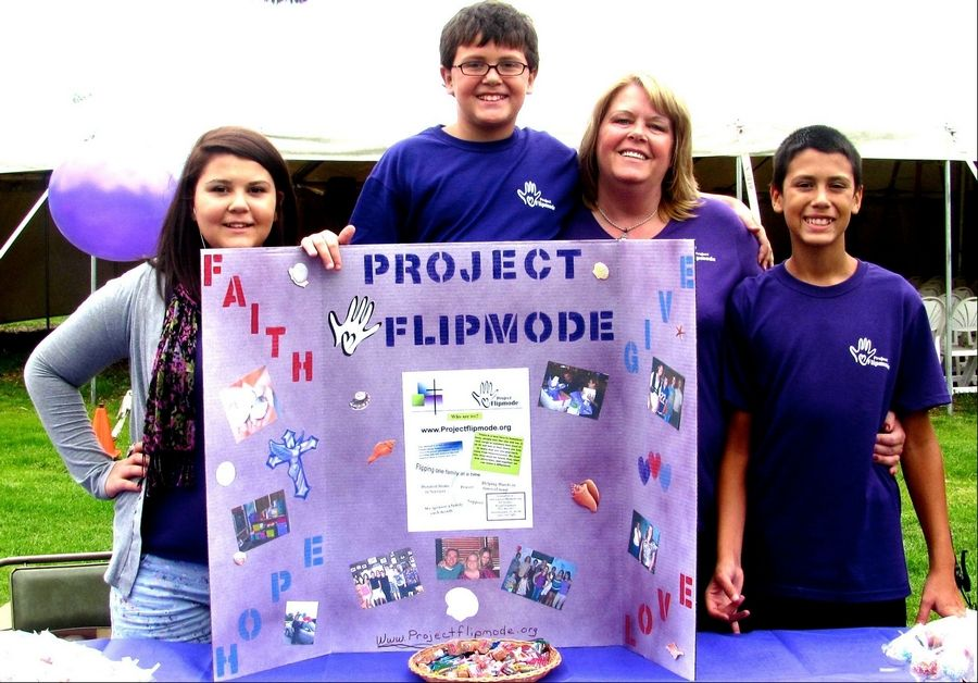 Jill Markussen and her children Jasmin, 14, Franco, 11, and Joey, 13, right, have started Project Flipmode to assist those facing homelessness and other crises.