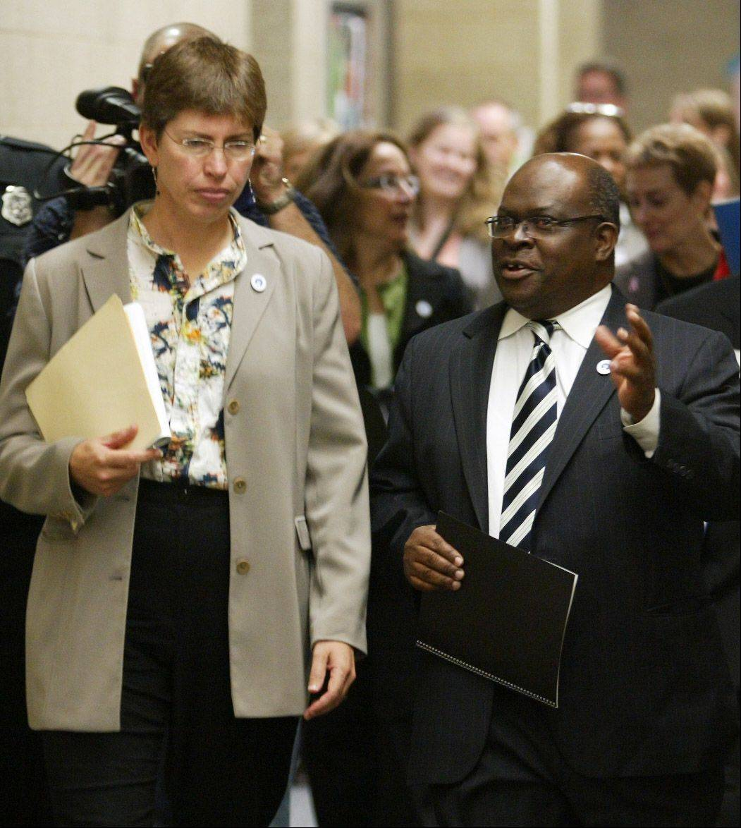 Lt. Gov. Sheila Simon visited with Elgin Community College President David Sam last month during her tour of the state's 48 community colleges. Suburban colleges like ECC are working more closely with area high school to better prepare high school students for higher education.