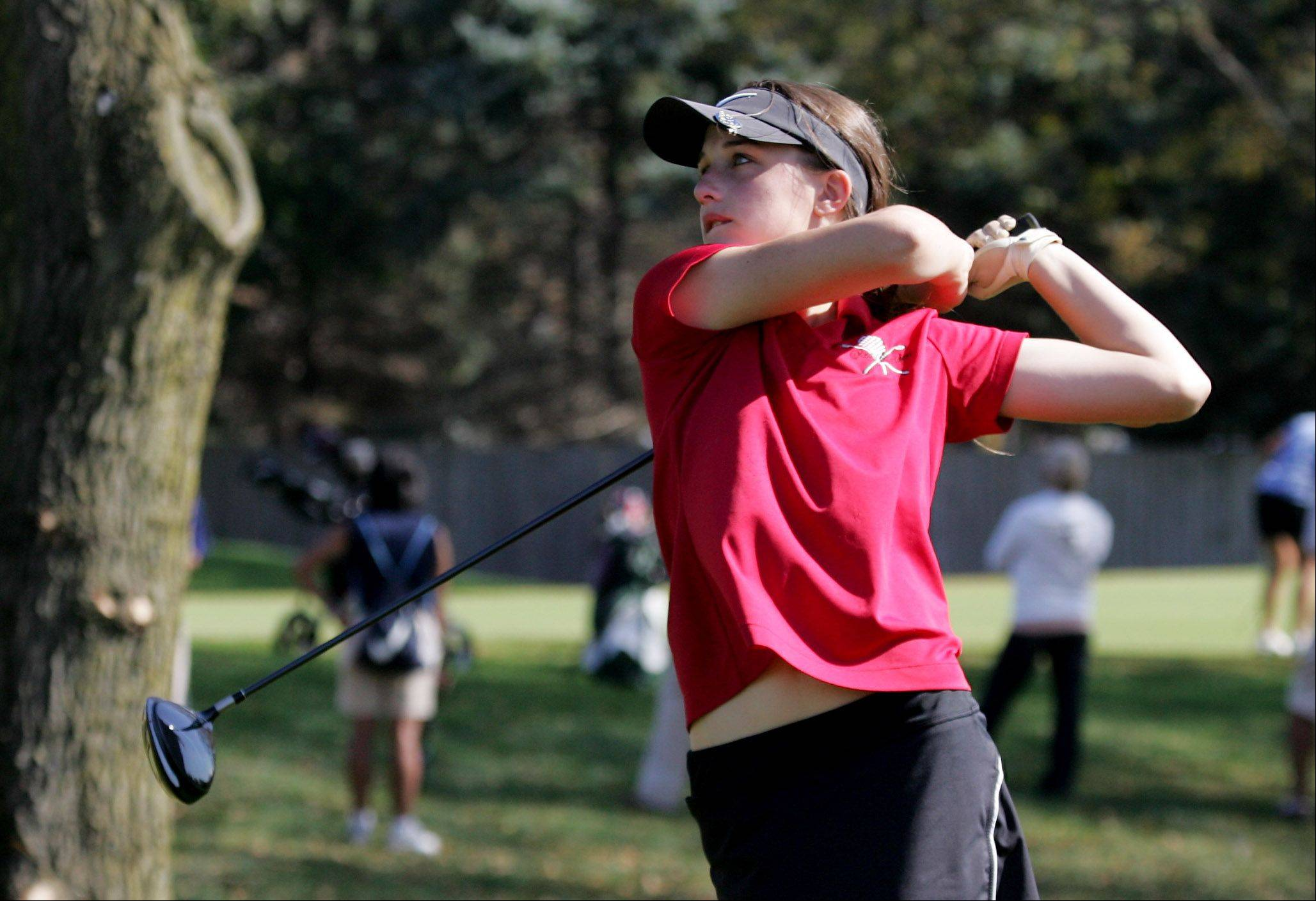Huntley golfer Gabby Young tees off during the Class 2A girls golf sectional Monday at Buffalo Grove Golf Club.