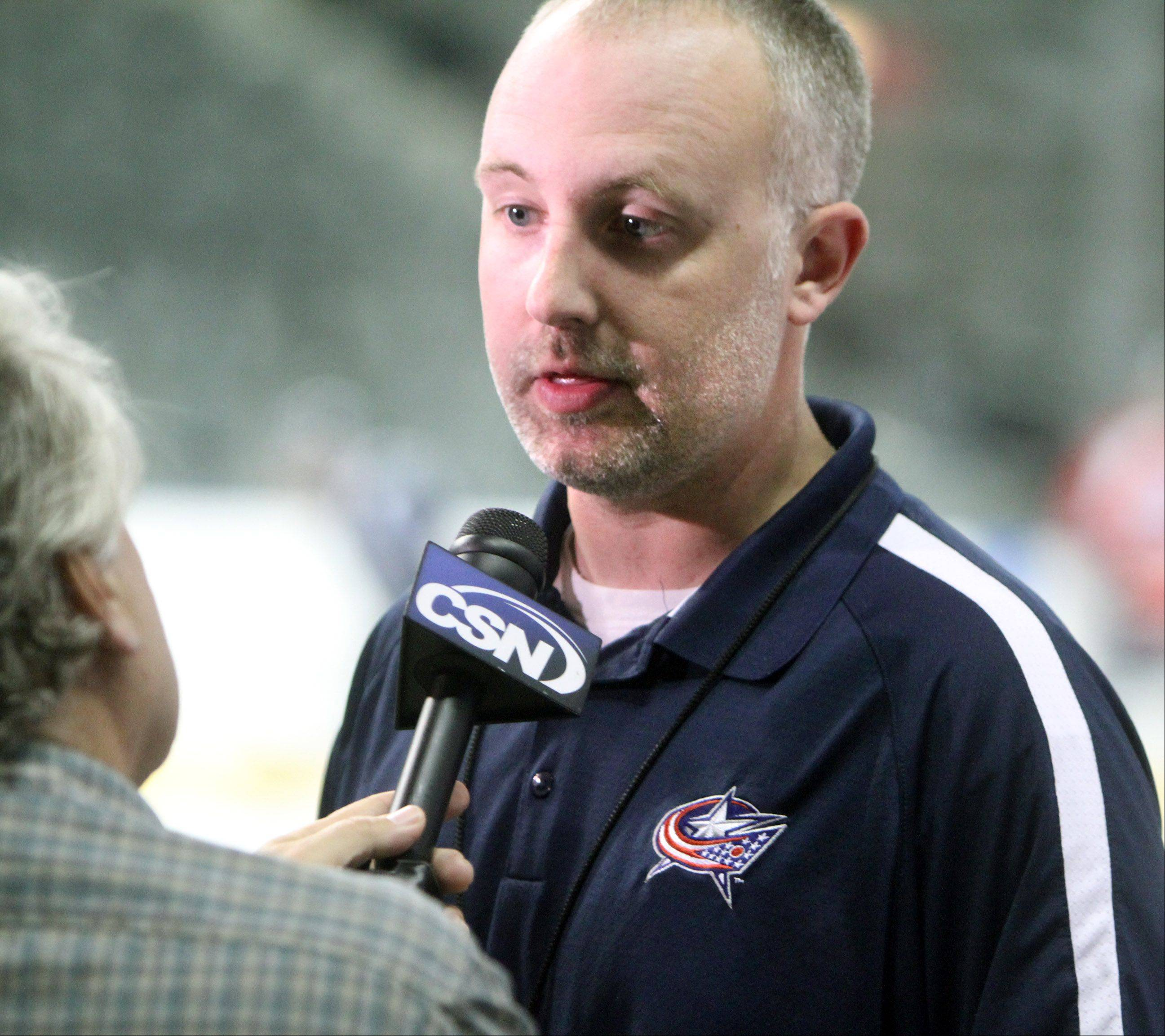 Chicago Express General Manager Wade Welsh speaks to the press during team media day Tuesday at the Sears Centre in Hoffman Estates.