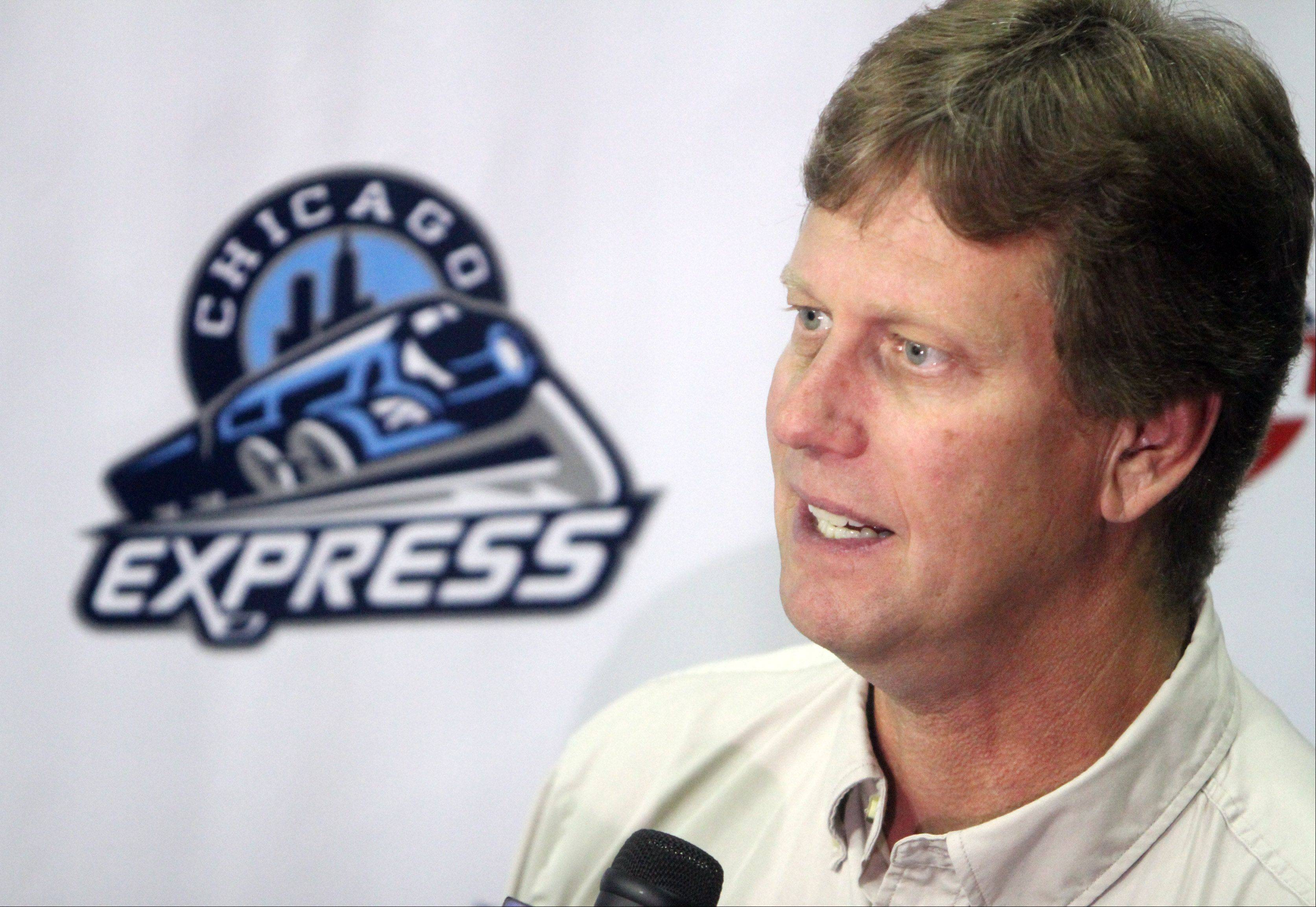Chicago Express owner Craig Drecktrah speaks to the press during team media day Tuesday at the Sears Centre in Hoffman Estates.