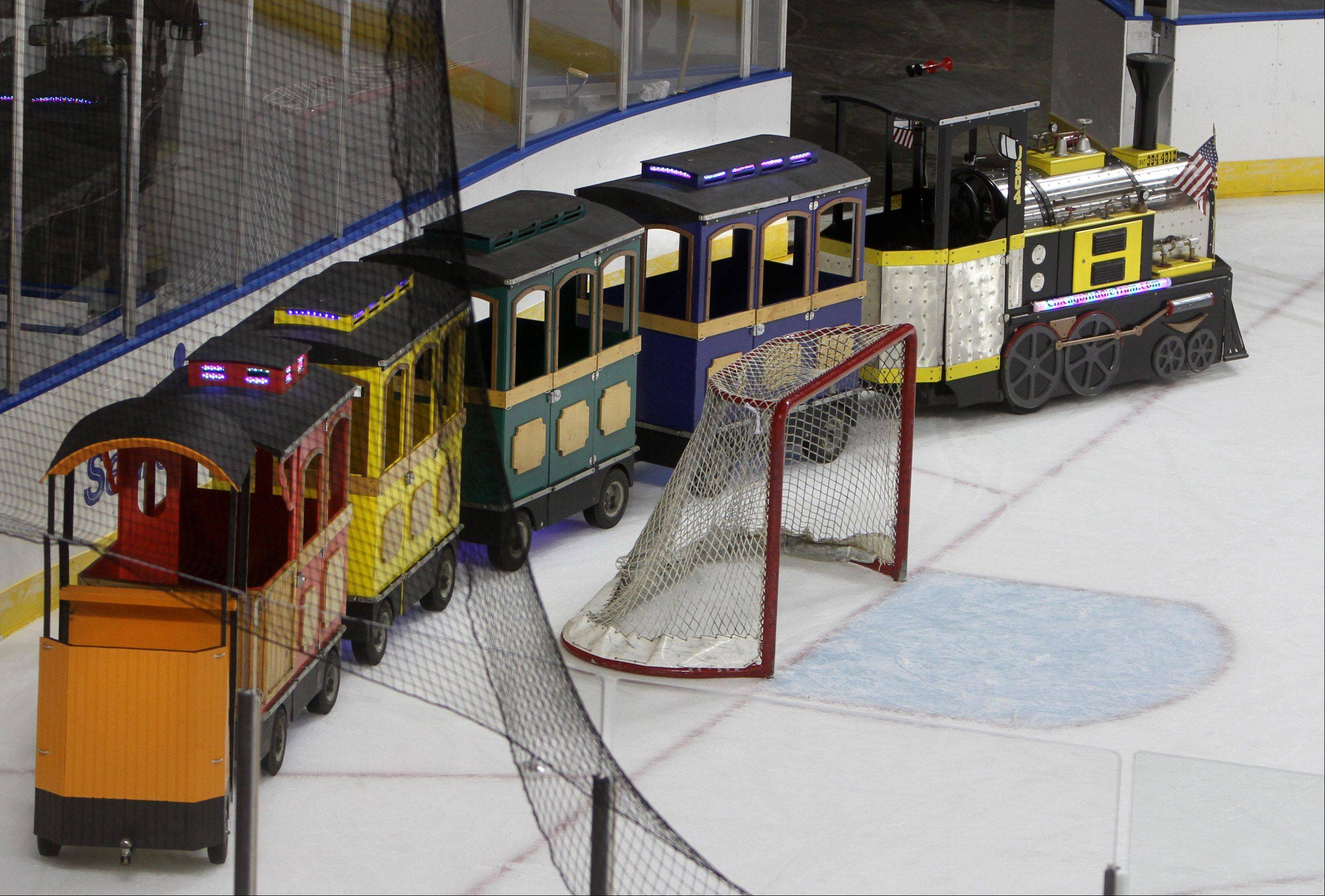 Kids will be able to ride a train around the ice before Chicago Express hockey games at the Sears Centre in Hoffman Estates.
