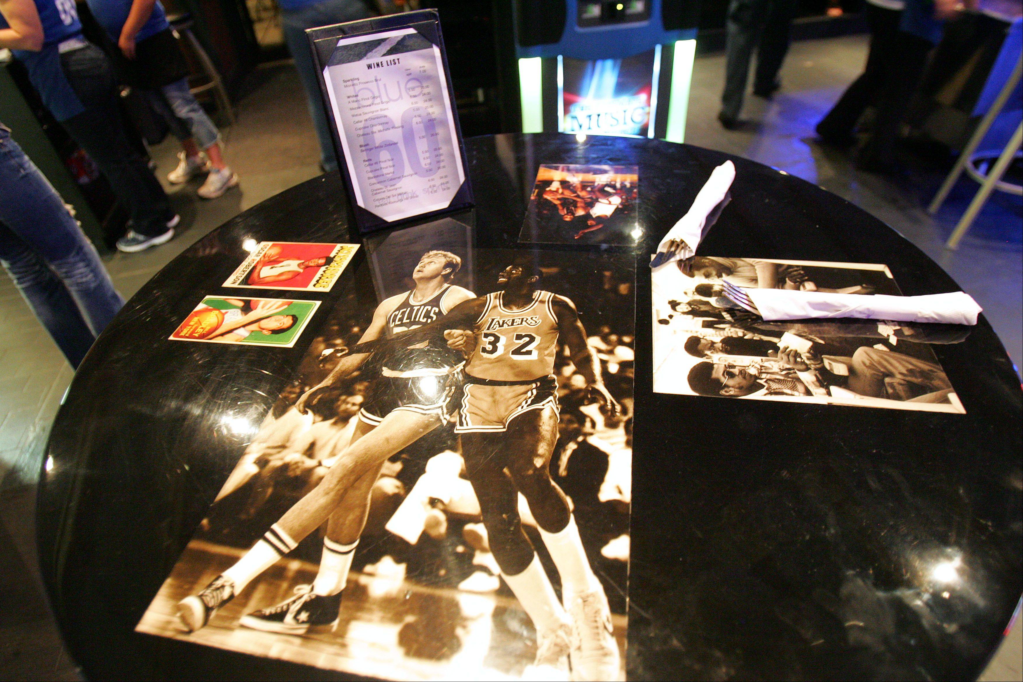 Sports pictures adorn the tables at Blue 60.