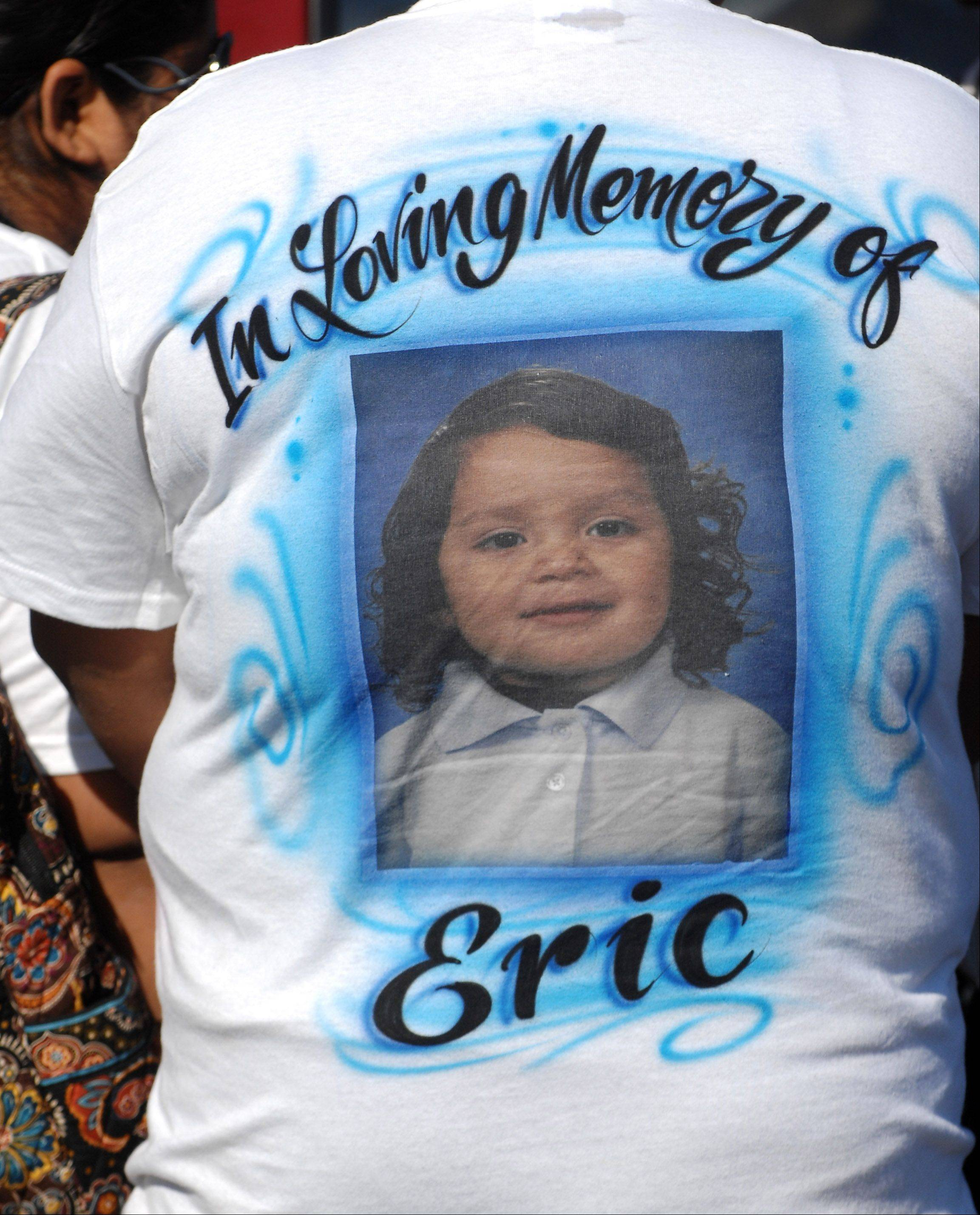 Family and friends wore T-shirts in memory of 5-year-old Eric M. Galarza Jr. at his funeral at St. Joseph Catholic Church in Elgin Wednesday.