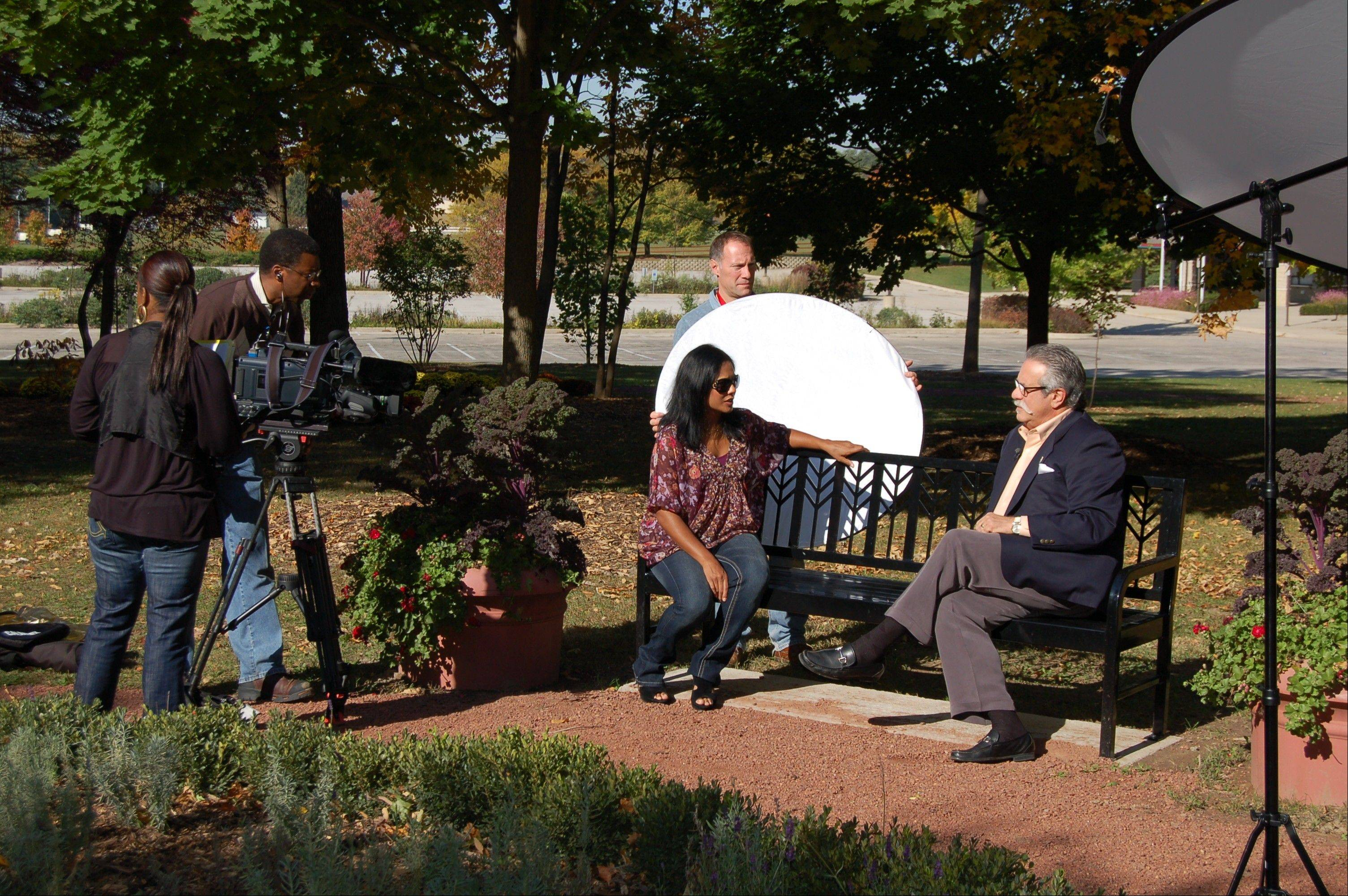 "West Chicago Mayor Mike Kwasman prepares for his interview with Eva Saha from ABC 7's ""190 North."""