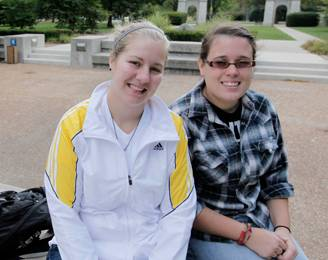 Elmhurst College students Emily Pochinskas, left, and Ally Vertigan.